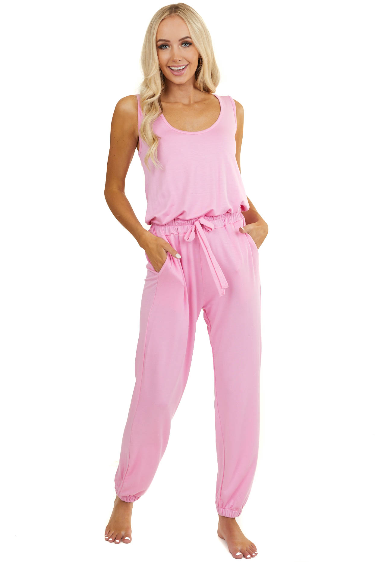 Bubble Gum Pink Elastic Waist Jumpsuit with Tie and Pockets