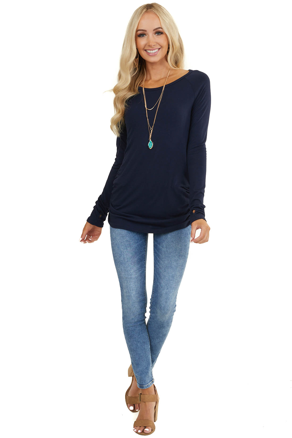 Navy Long Sleeve Tunic Top with Ruching Details
