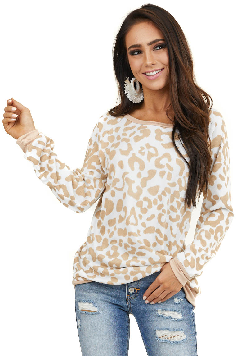 Beige Leopard Print Long Sleeve Pullover Knit Top
