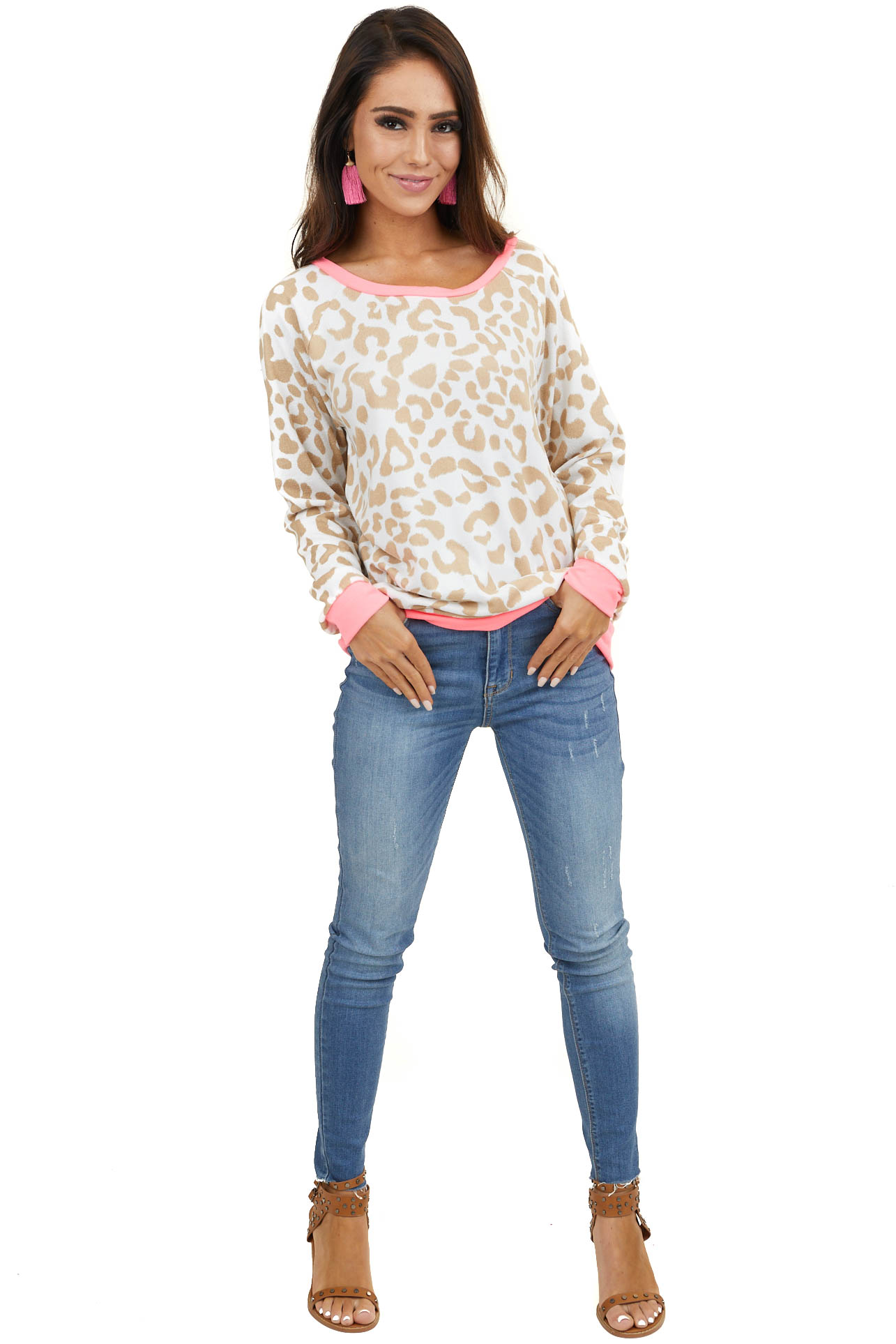 Beige and Hot Pink Leopard Print Long Sleeve Pullover Top