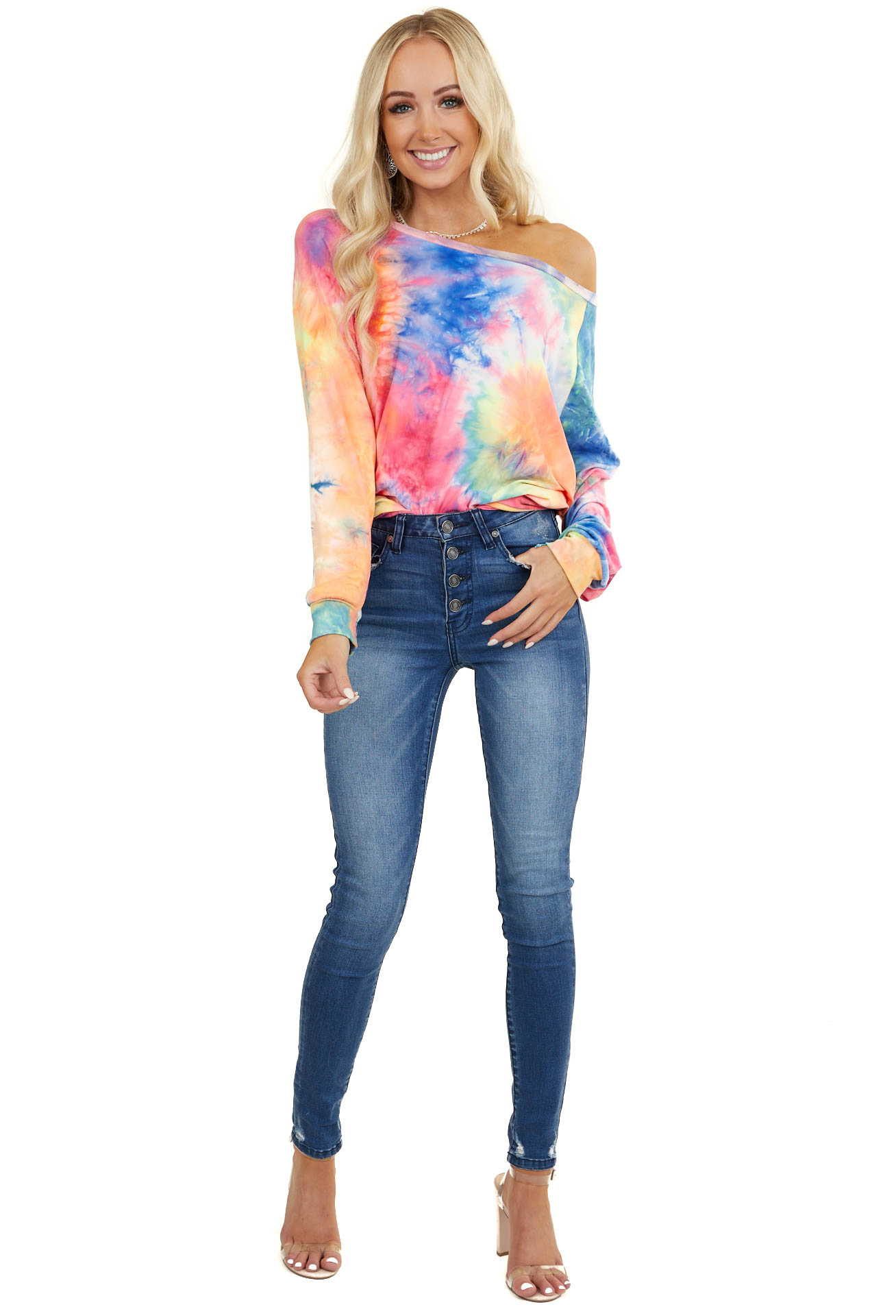Multicolor Tie Dye Long Sleeve Pull Over Knit Top