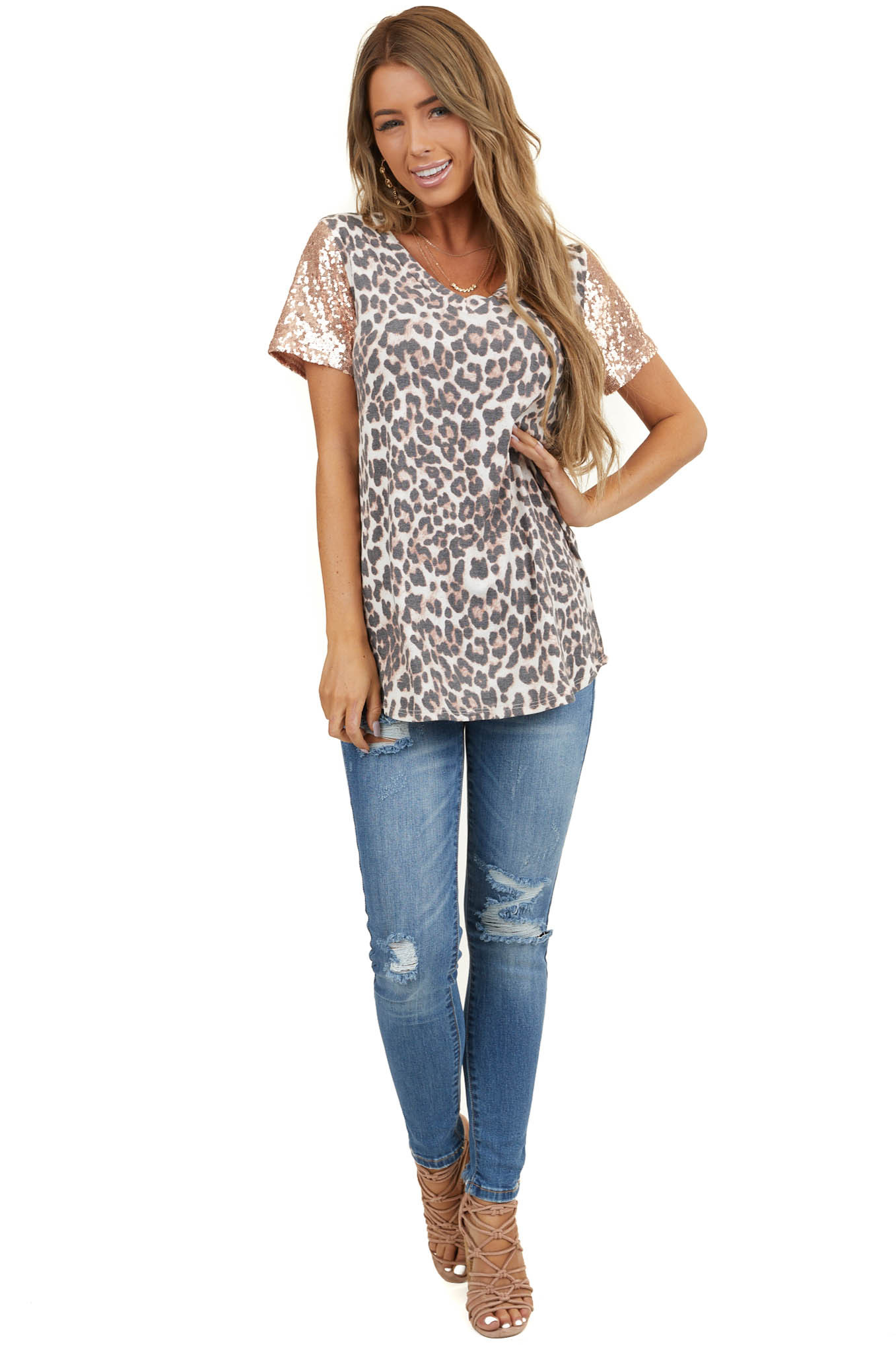 Dusty Rose Leopard Print Knit Top with Blush Sequin Sleeves