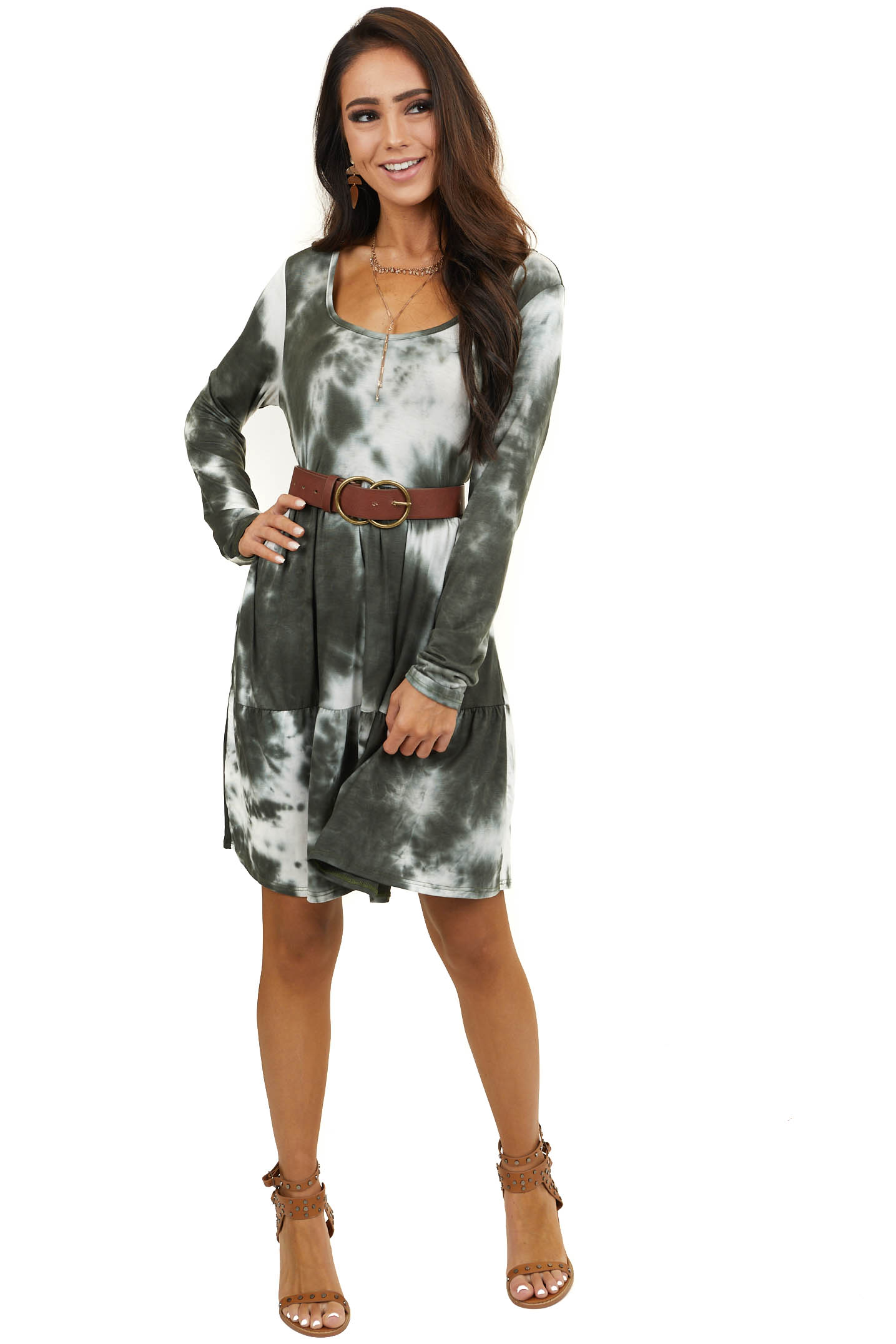 Hunter Green and Ivory Long Sleeve Tie Dye Knit Dress