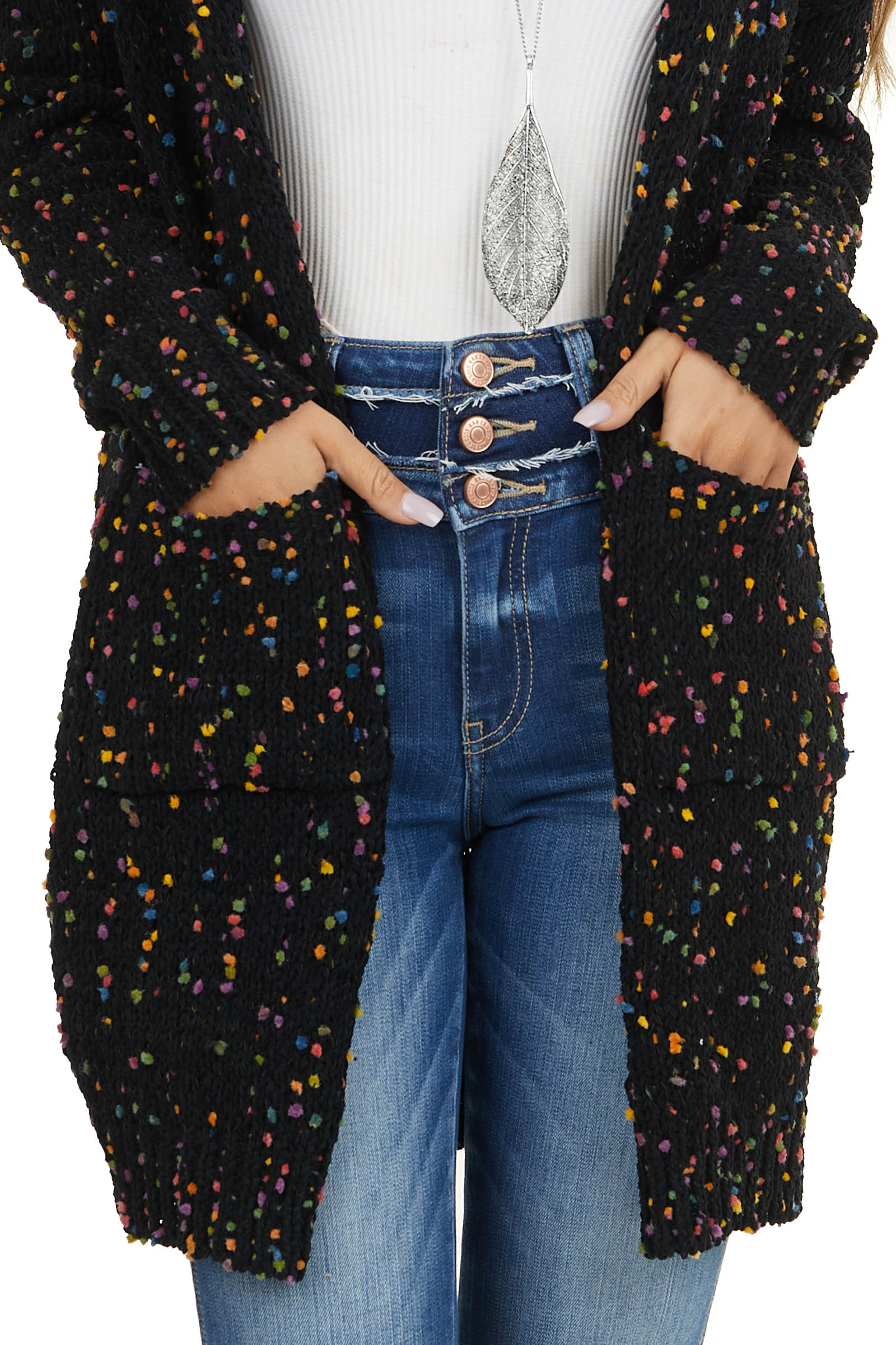 Black Knit Cardigan with Rainbow Speckles and Pockets