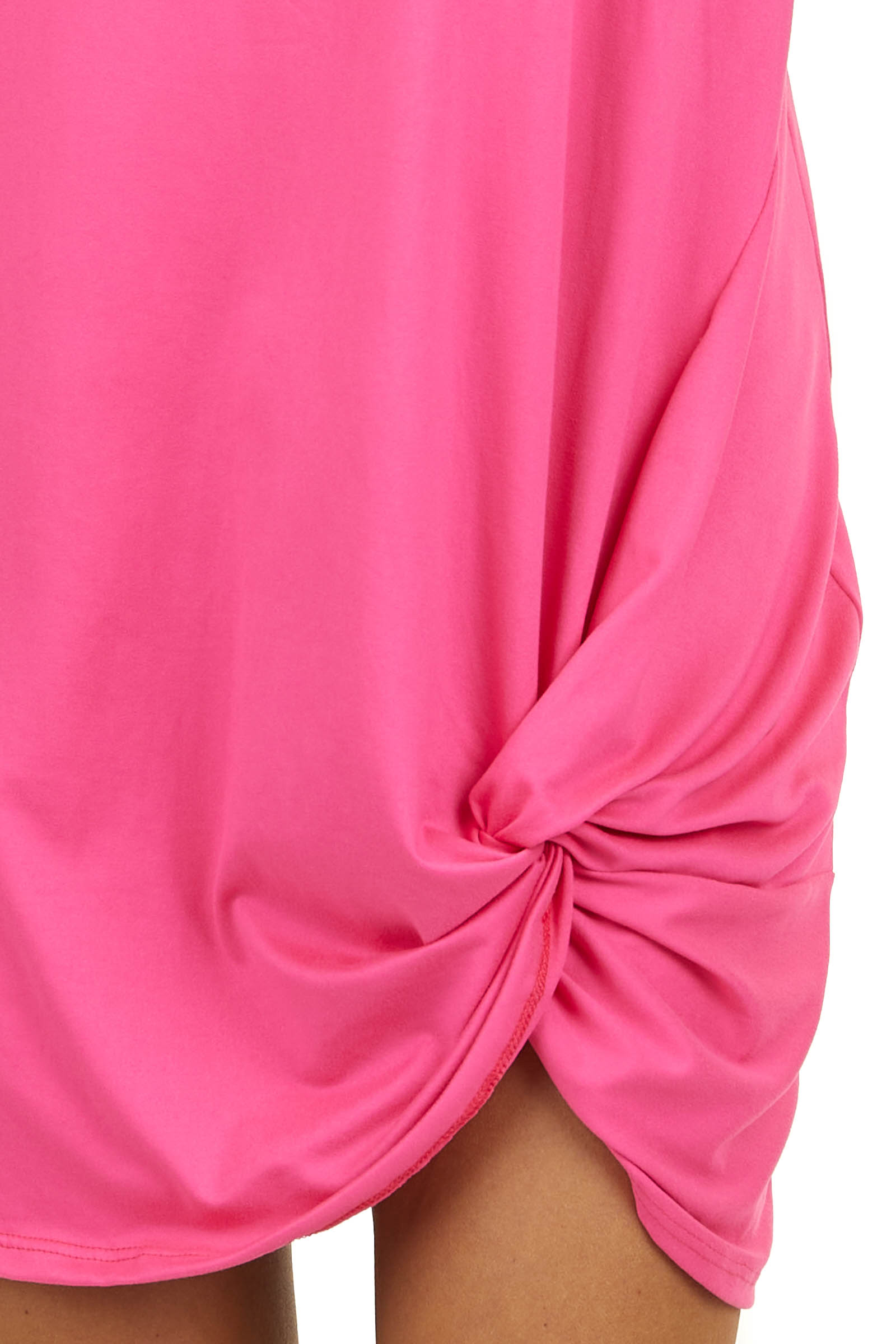 Hot Pink Short Sleeve V Neck Dress with Front Twist Detail