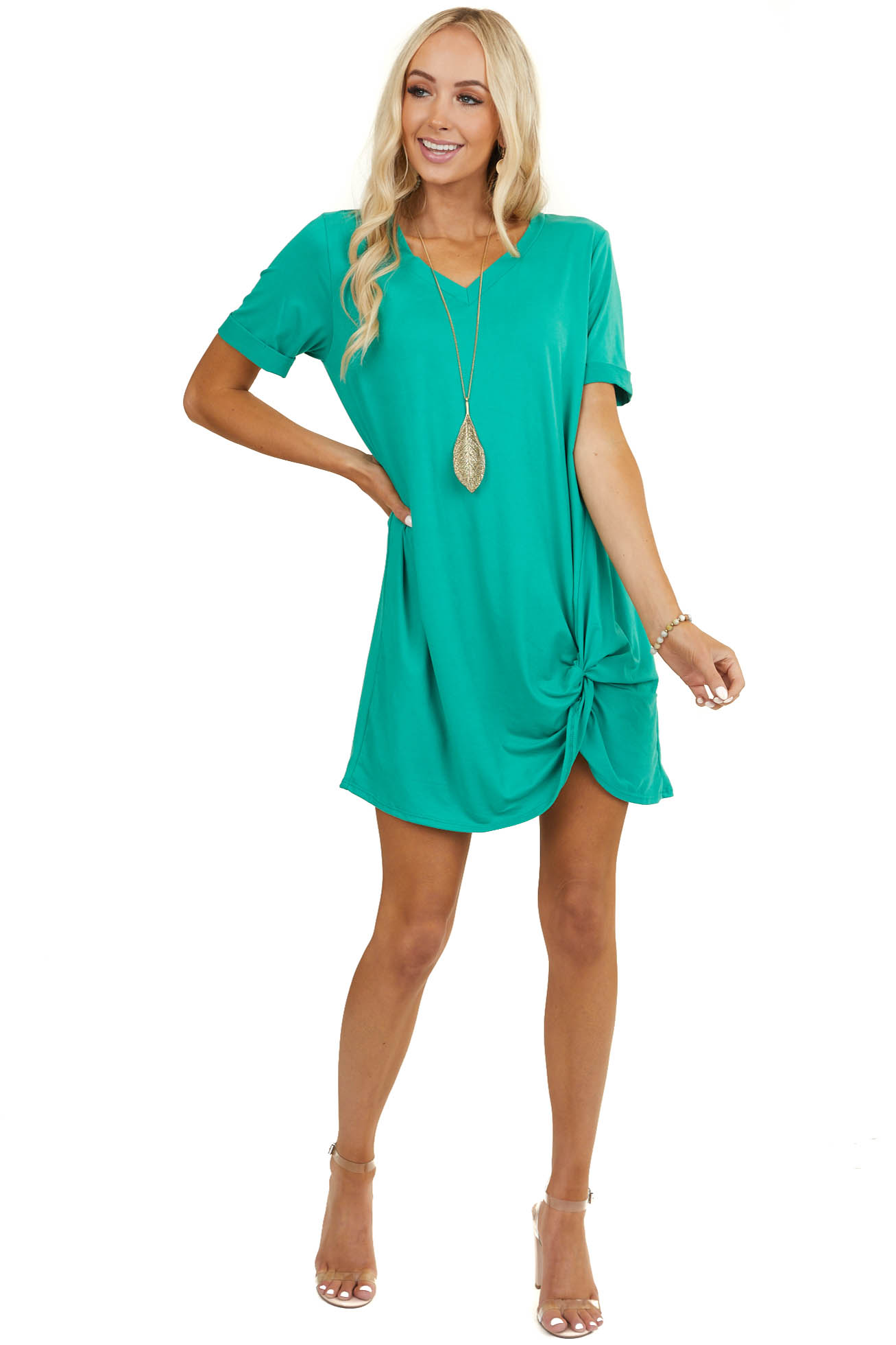 Kelly Green Short Sleeve V Neck Dress with Twist Detail