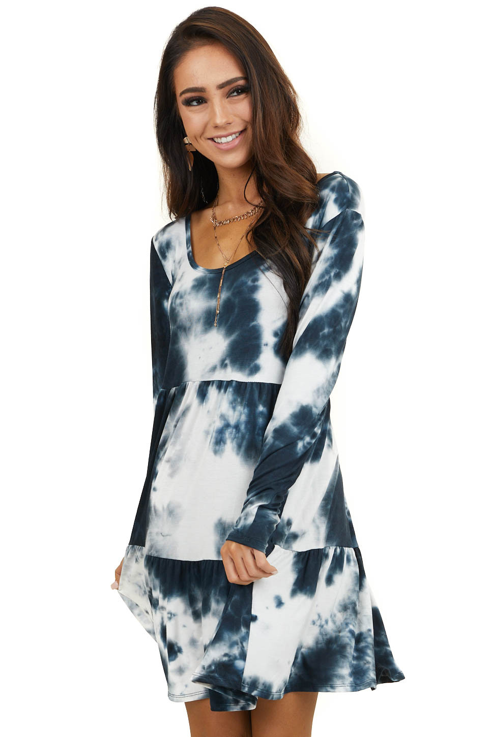 Navy and Ivory Long Sleeve Tie Dye Knit Dress