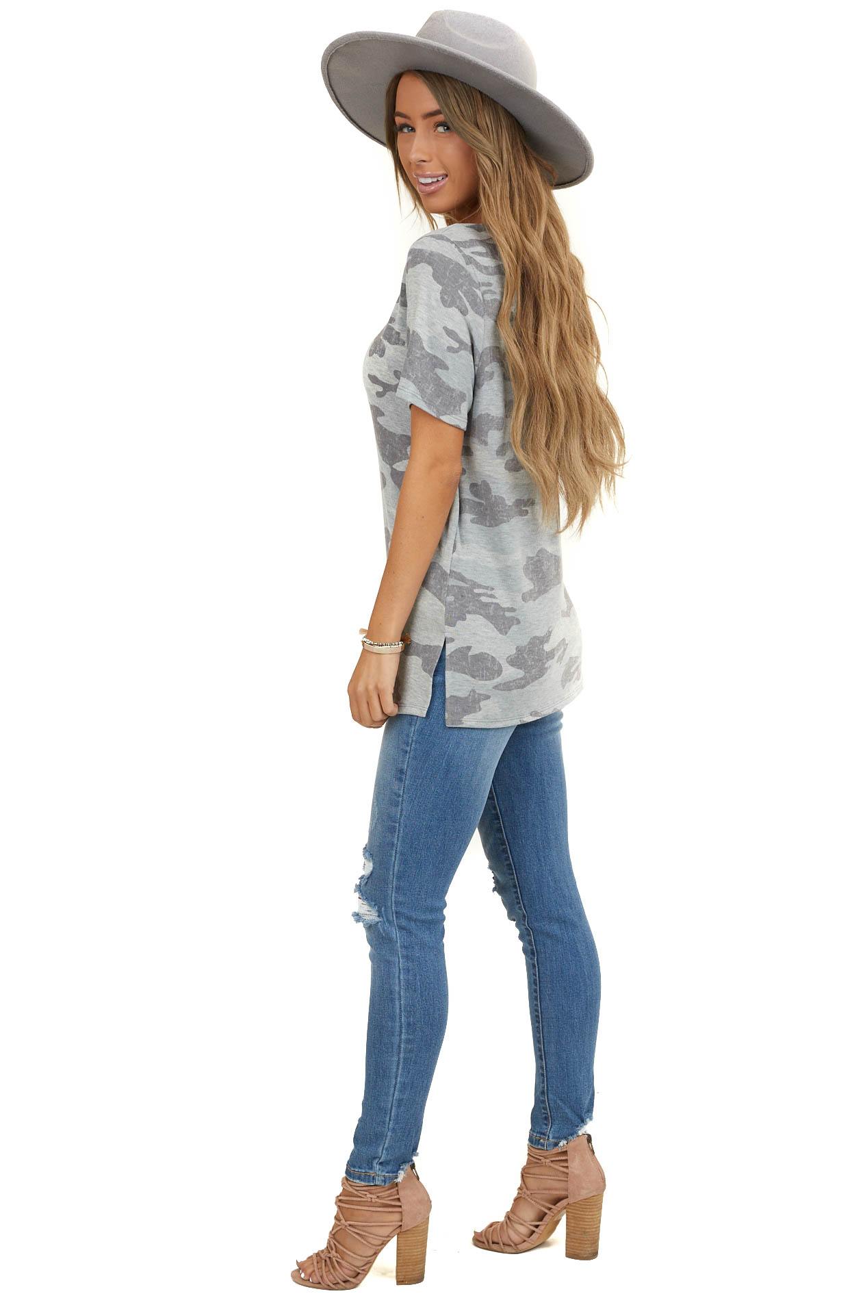 Heather Grey Camo Print Short Sleeve Top with Cutout Detail