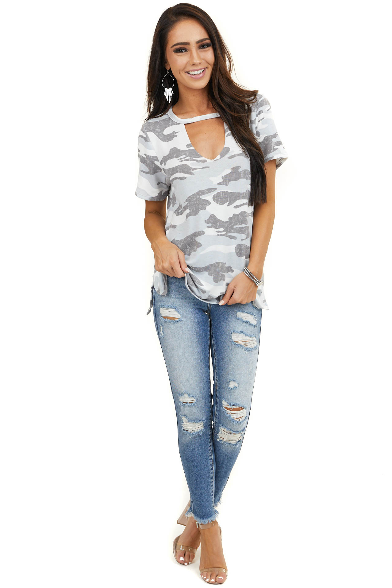 Pale Blue Camo Print Short Sleeve Top with Cutout Detail