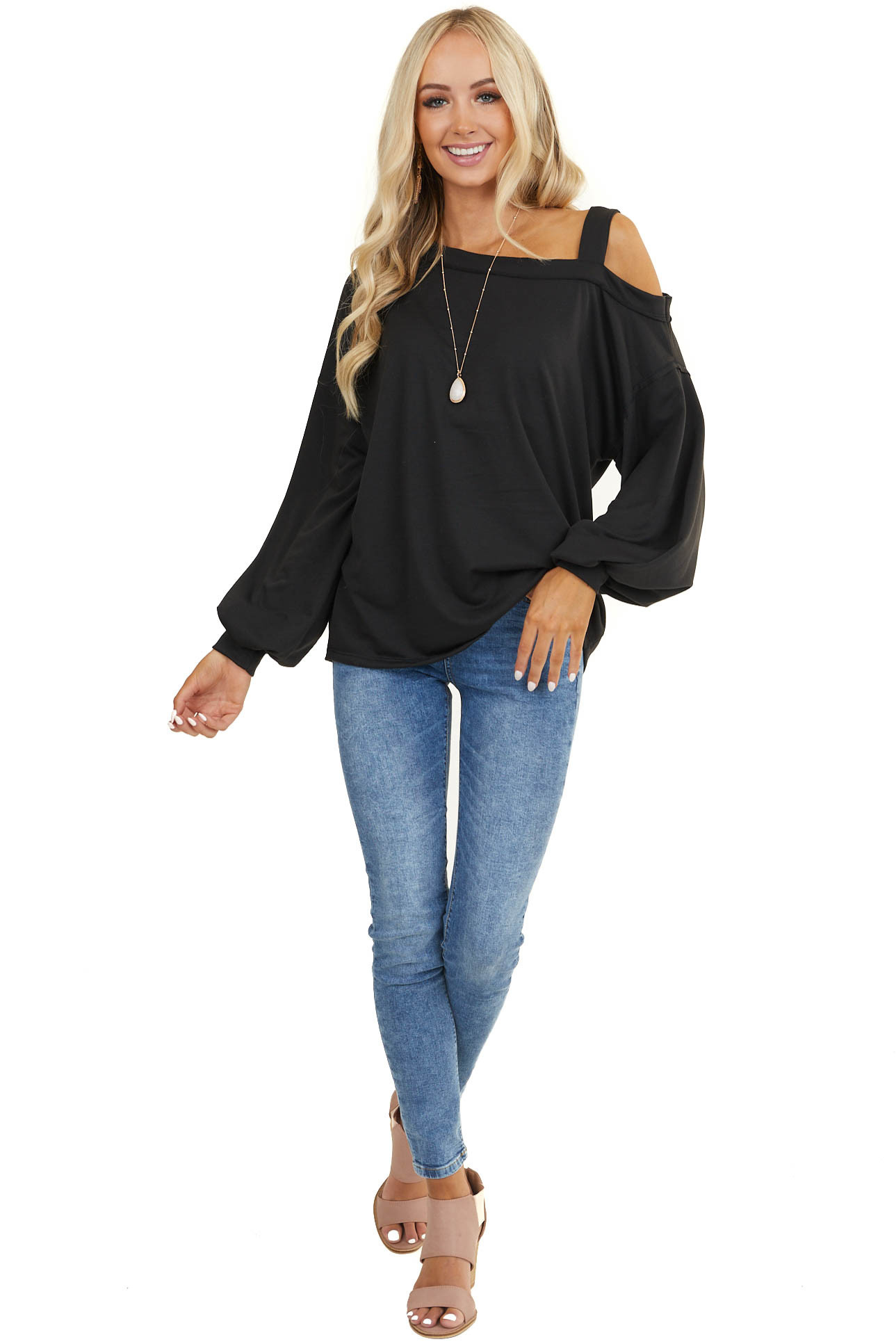 Black Cold Shoulder Knit Top with Long Sleeves