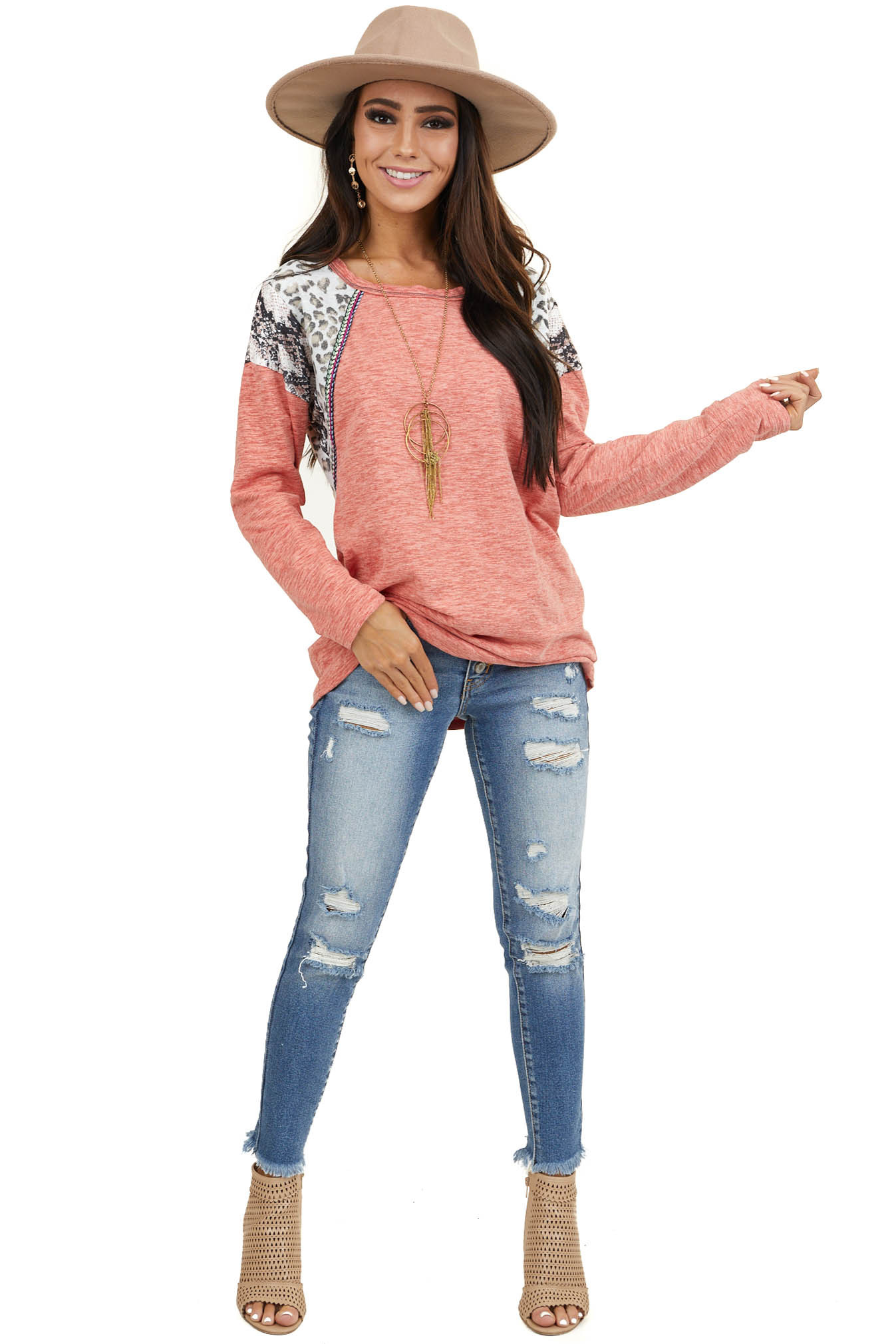 Coral Long Sleeve Top with Leopard and Snakeskin Print