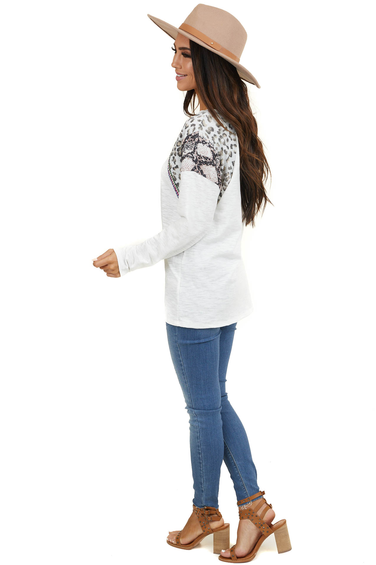 Ivory Long Sleeve Top with Leopard and Snakeskin Print