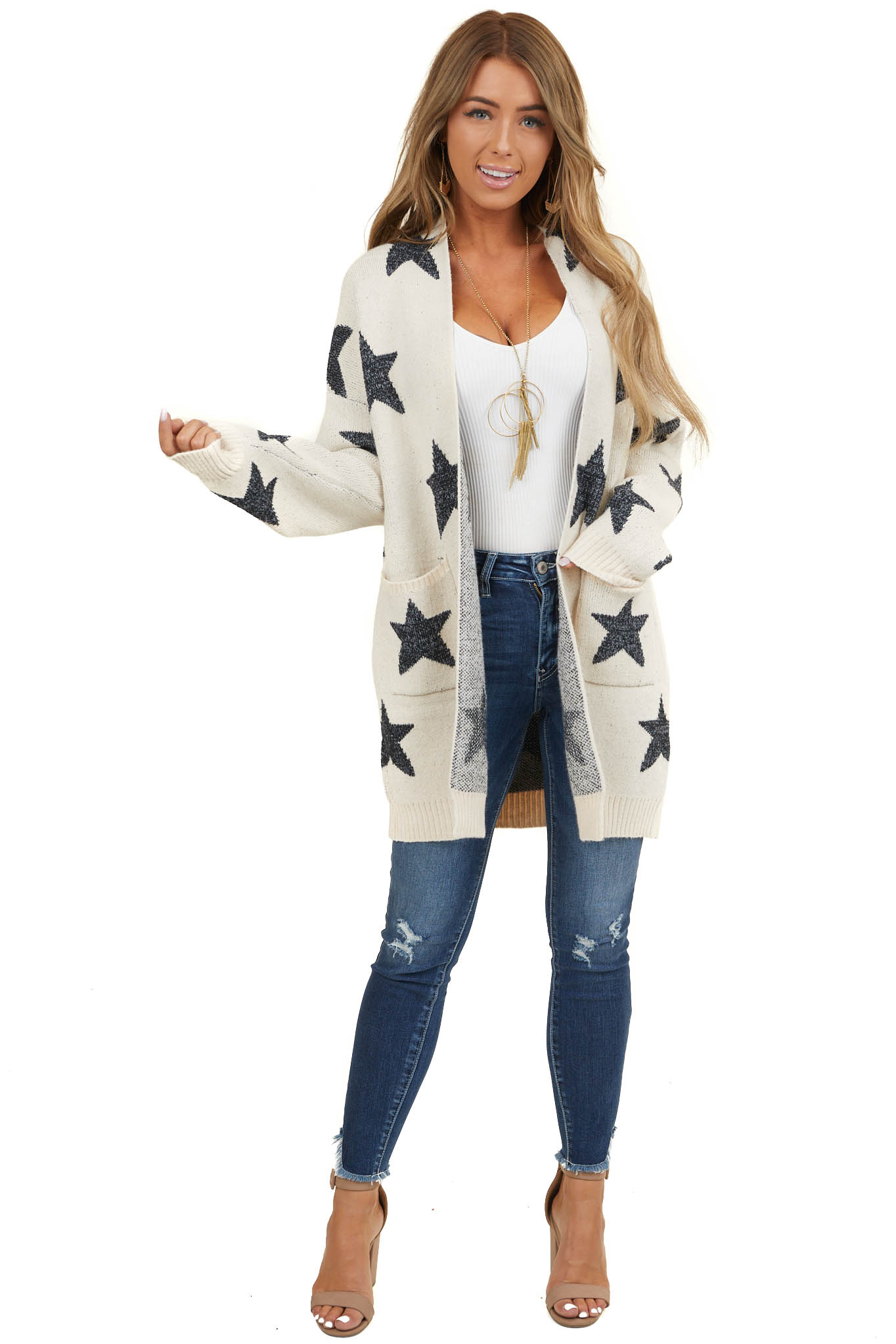 Cream Star Print Long Sleeve Cardigan with Front Pockets