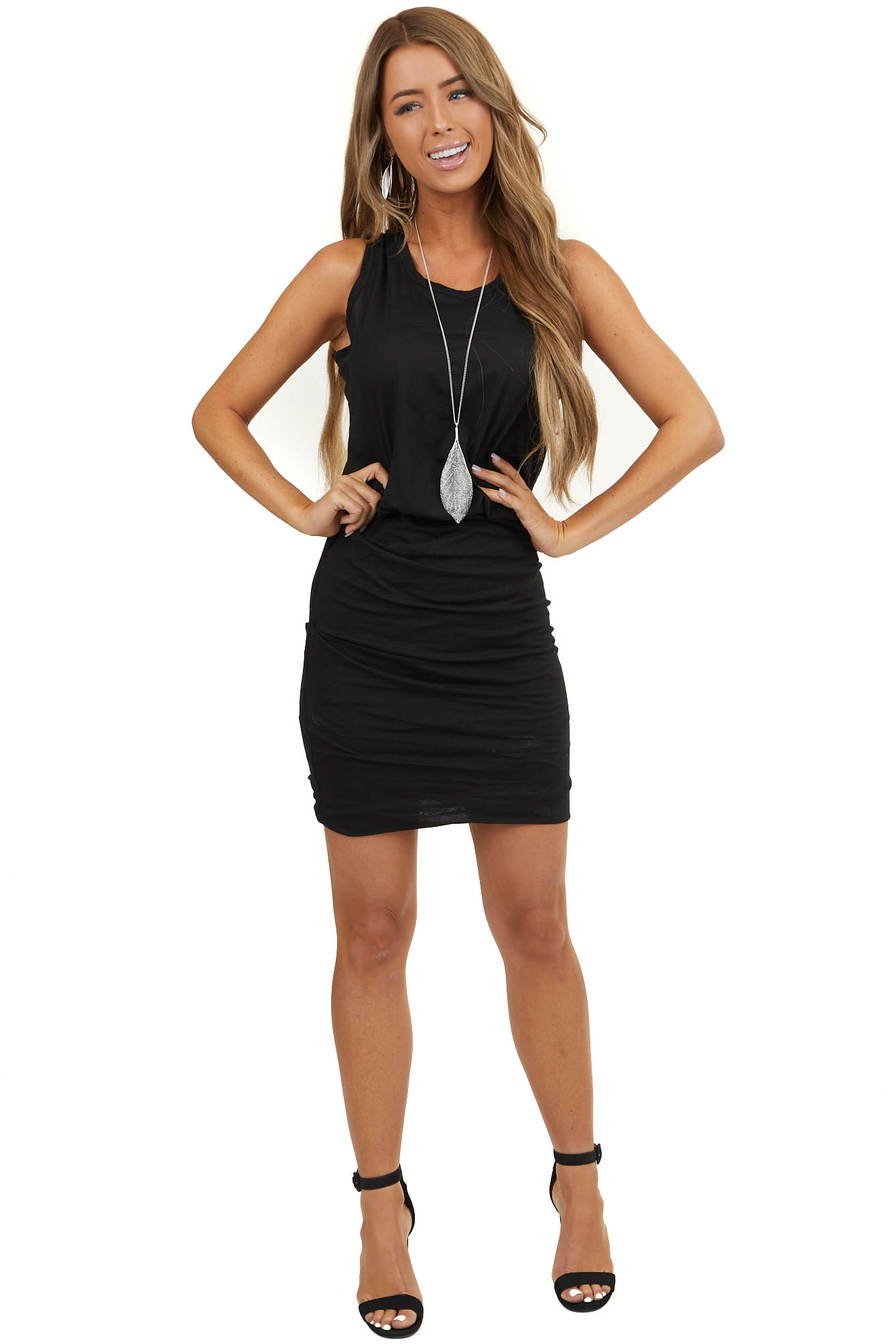 Black Tank Dress with Ruched Skirt and Gathered Waist
