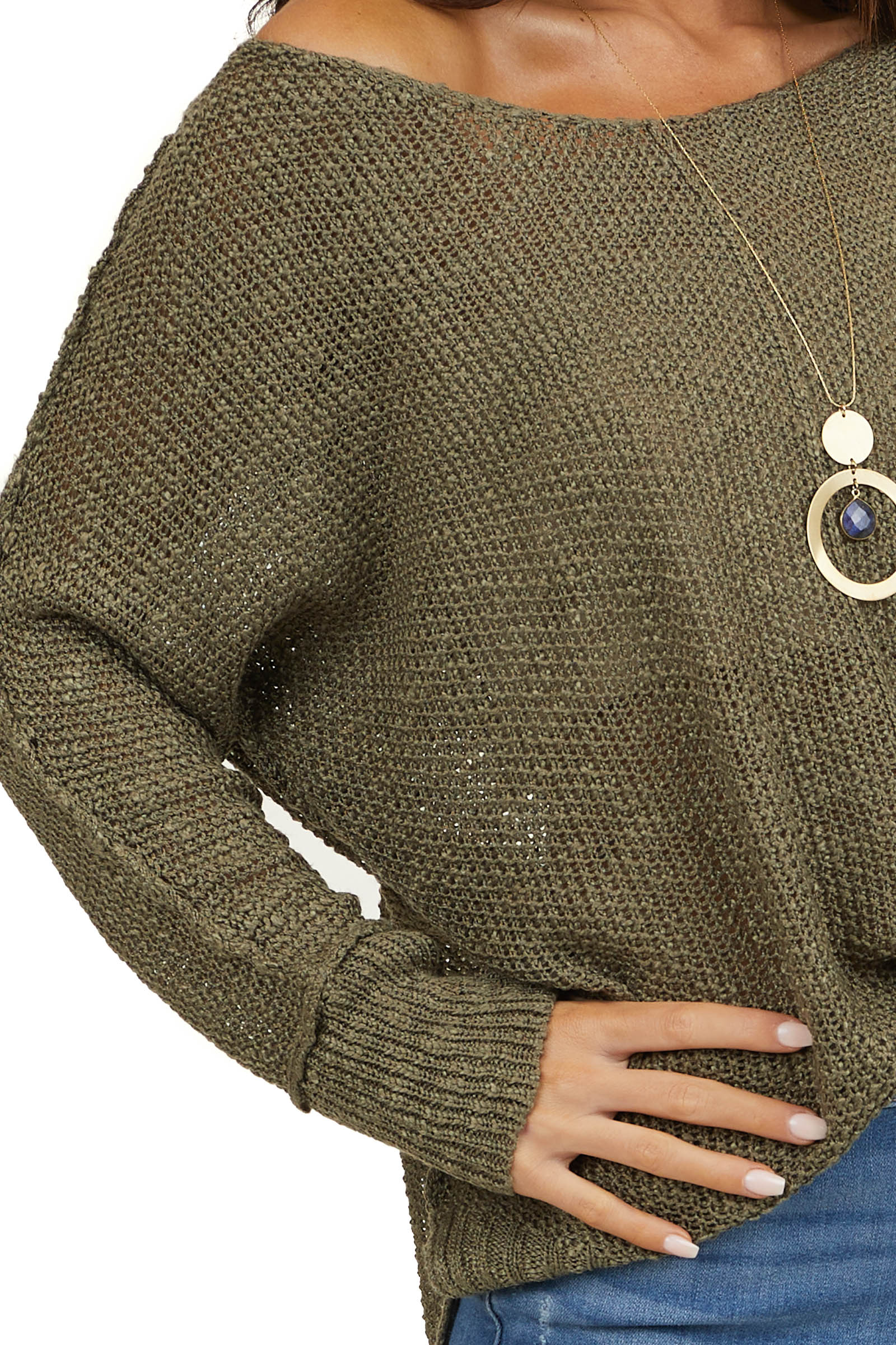 Dusty Olive Knit Lightweight Sweater with Long Sleeves