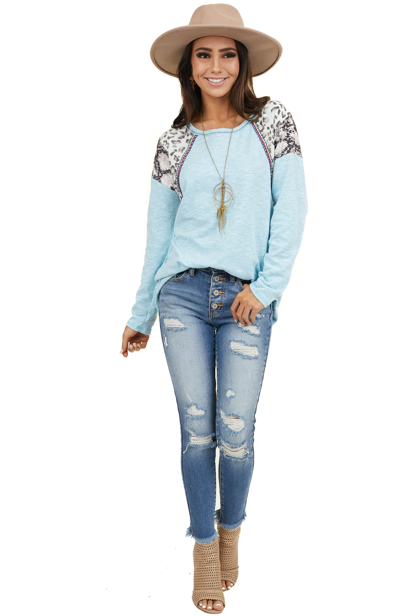 Sky Blue Long Sleeve Top with Leopard and Snakeskin Print