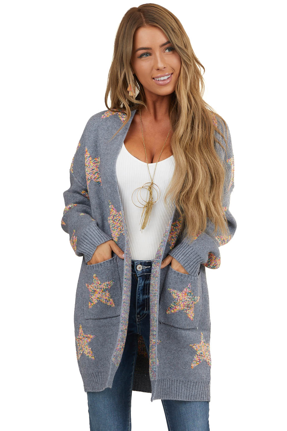 Grey Star Print Long Sleeve Cardigan with Front Pockets