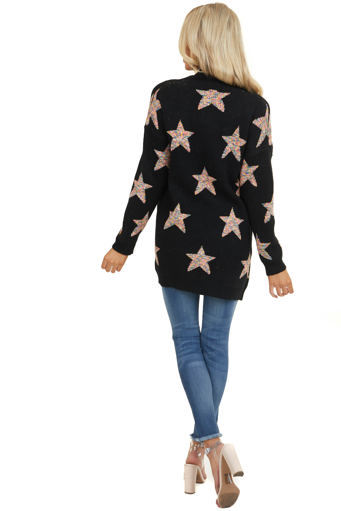 Black Star Print Long Sleeve Cardigan with Front Pockets