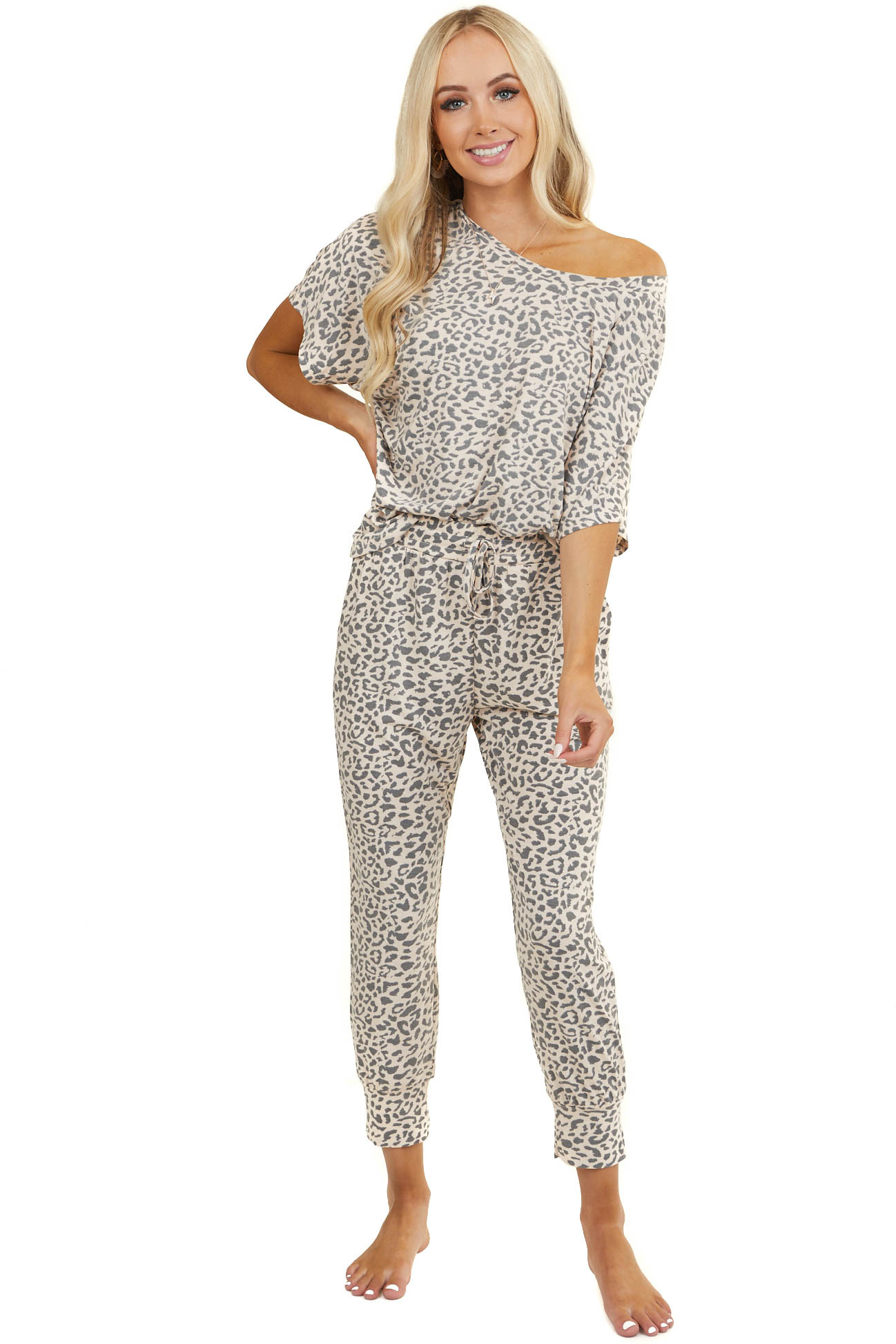 Dusty Peach Leopard Print Top and Sweatpants Two Piece Set