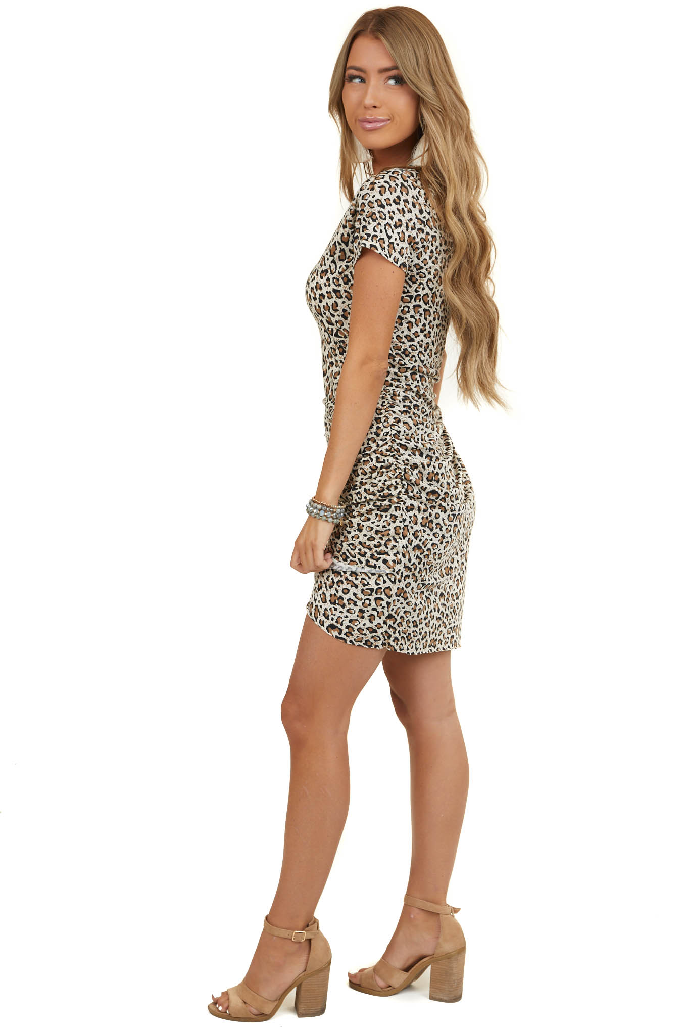 Cream and Camel Leopard Print Dress with Side Ruching Detail