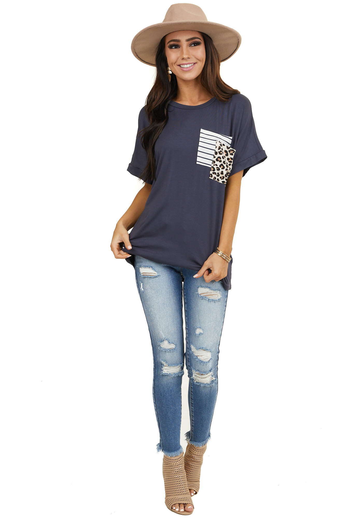 Stormy Blue Top with Striped and Leopard Print Pockets