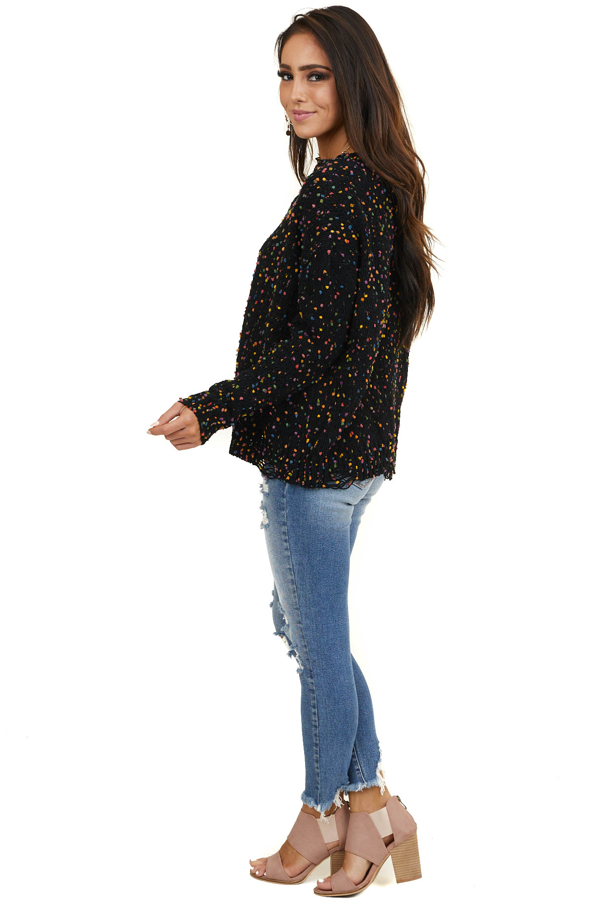 Black Sweater with Rainbow Speckles and Distressed Detail