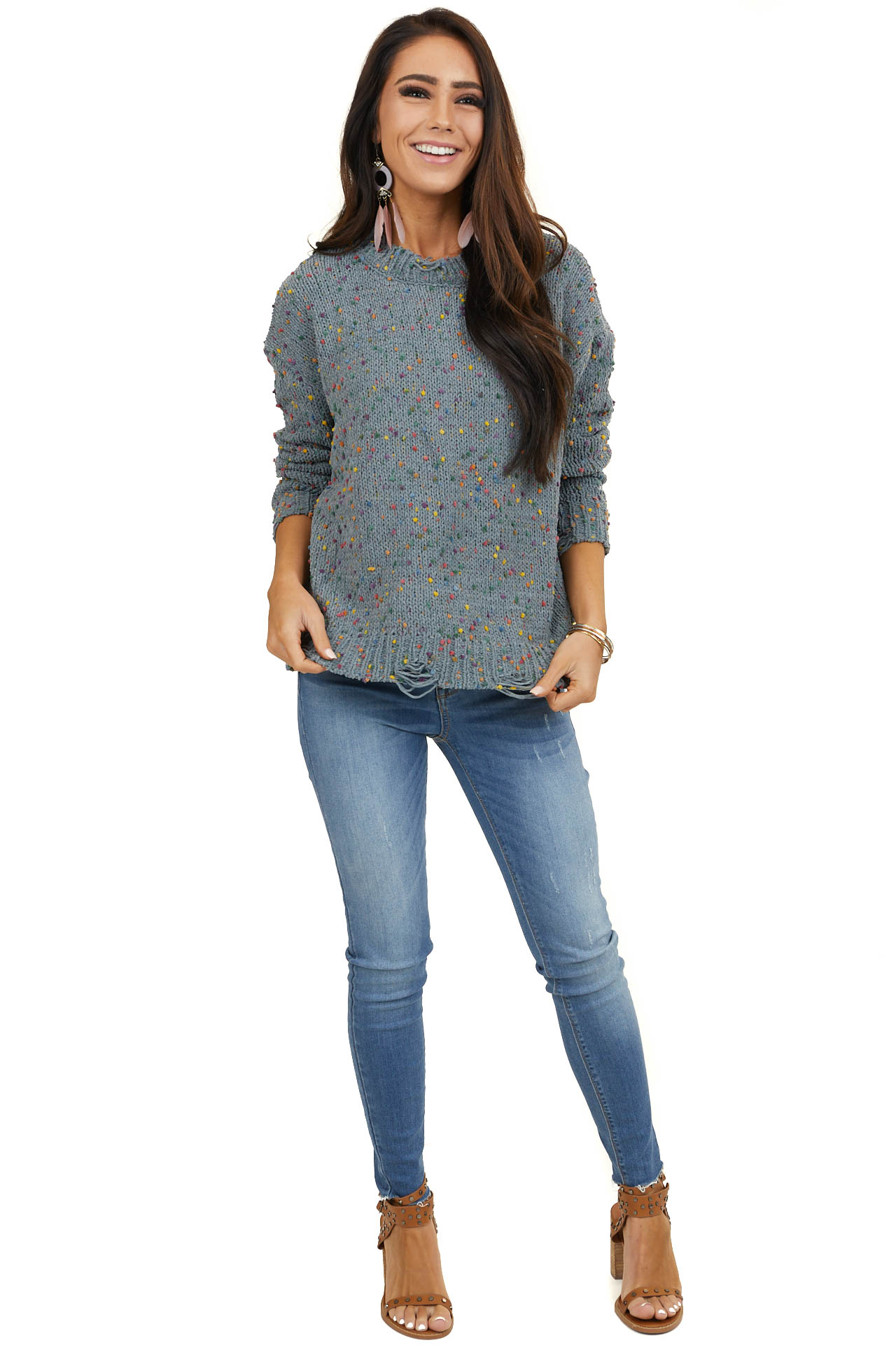 Grey Sweater with Rainbow Speckles and Distressed Detail