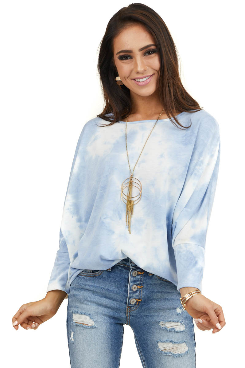 Pale Blue Tie Dye Knit Top with 3/4 Length Dolman Sleeves