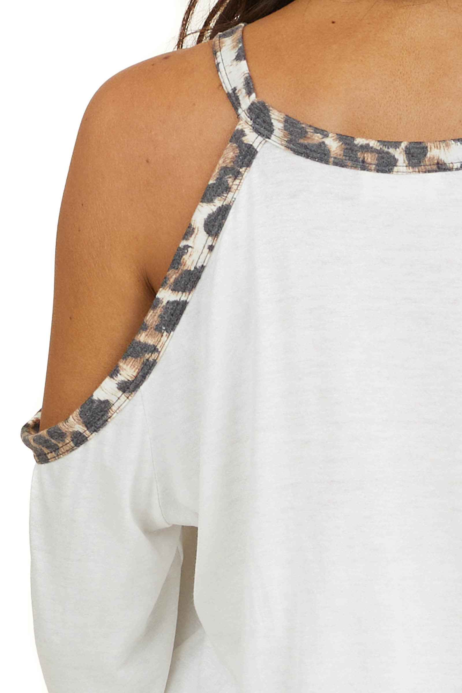 Ivory Cold Shoulder Long Sleeve Top with Leopard Print