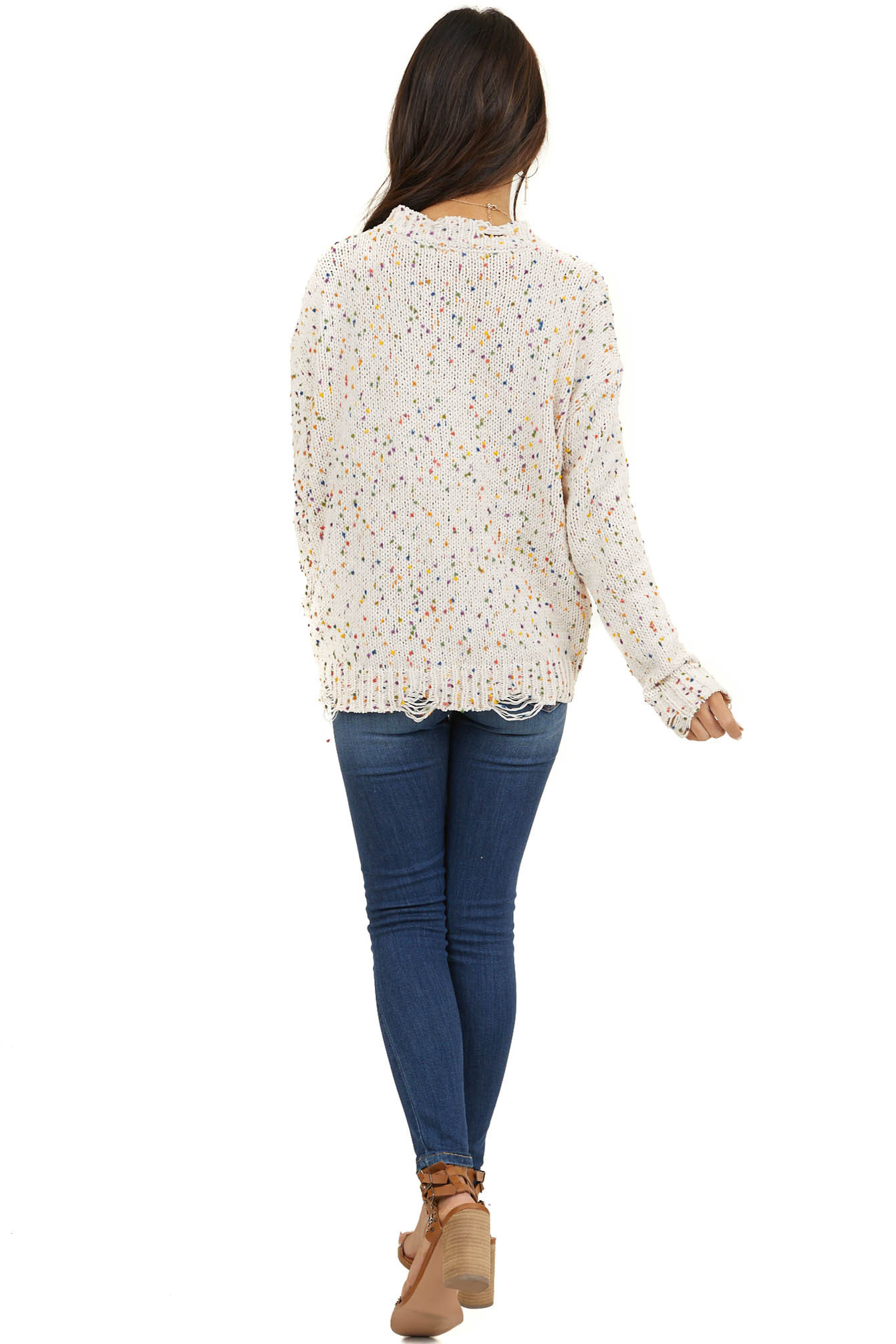 Cream Sweater with Rainbow Speckles and Distressed Detail