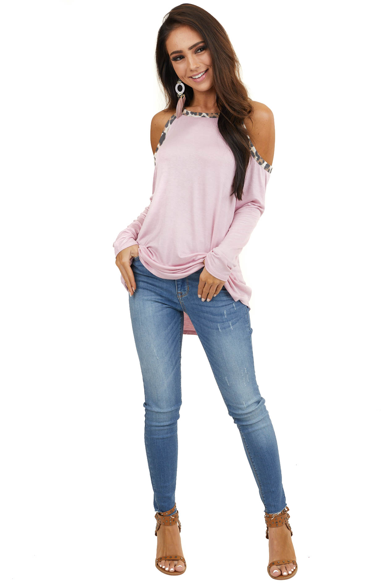 Dusty Blush Cold Shoulder Long Sleeve Top with Leopard Print