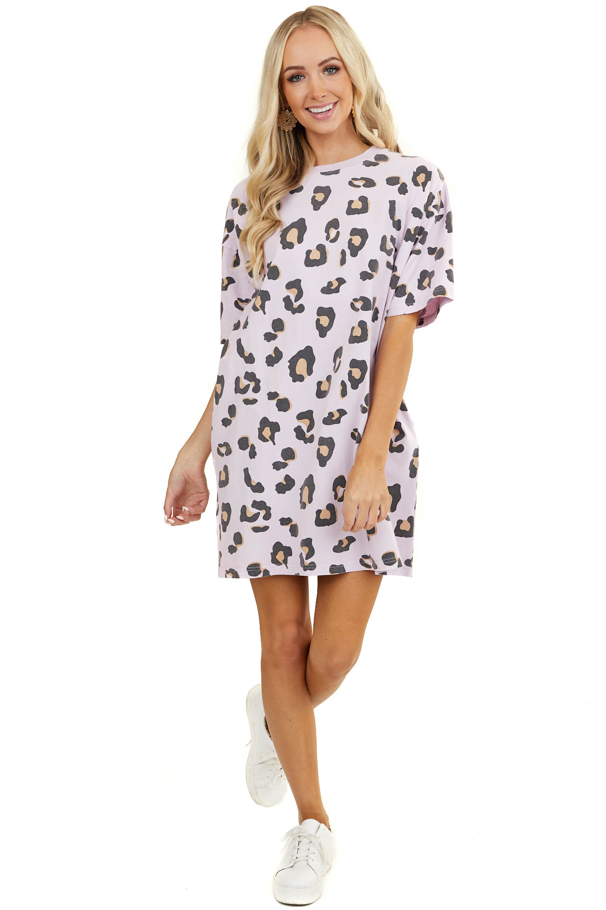 Pale Lavender Leopard Print Relaxed Fit Short Sleeve Dress