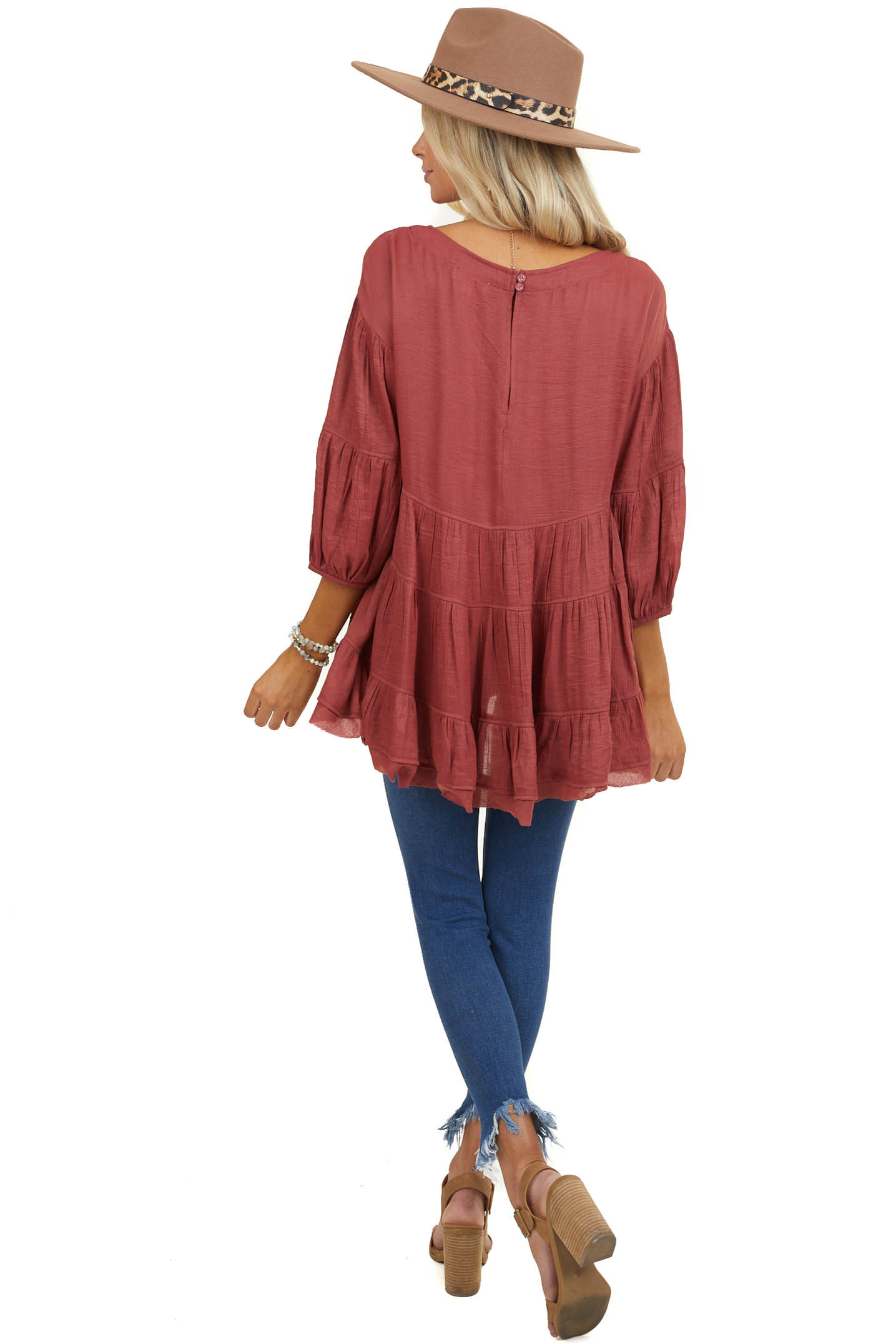 Marsala Tiered Peasant Blouse with 3/4 Length Sleeves