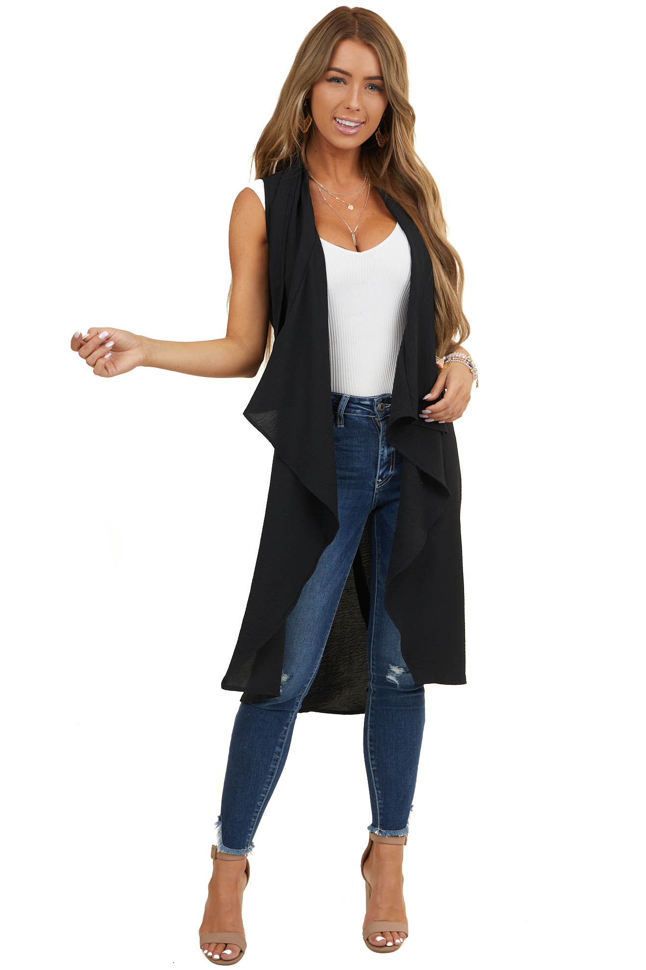 Black Draped Duster Vest with Tie Detail