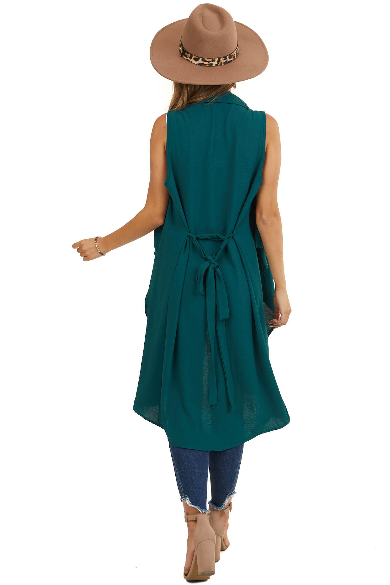 Pine Green Draped Duster Vest with Tie Detail