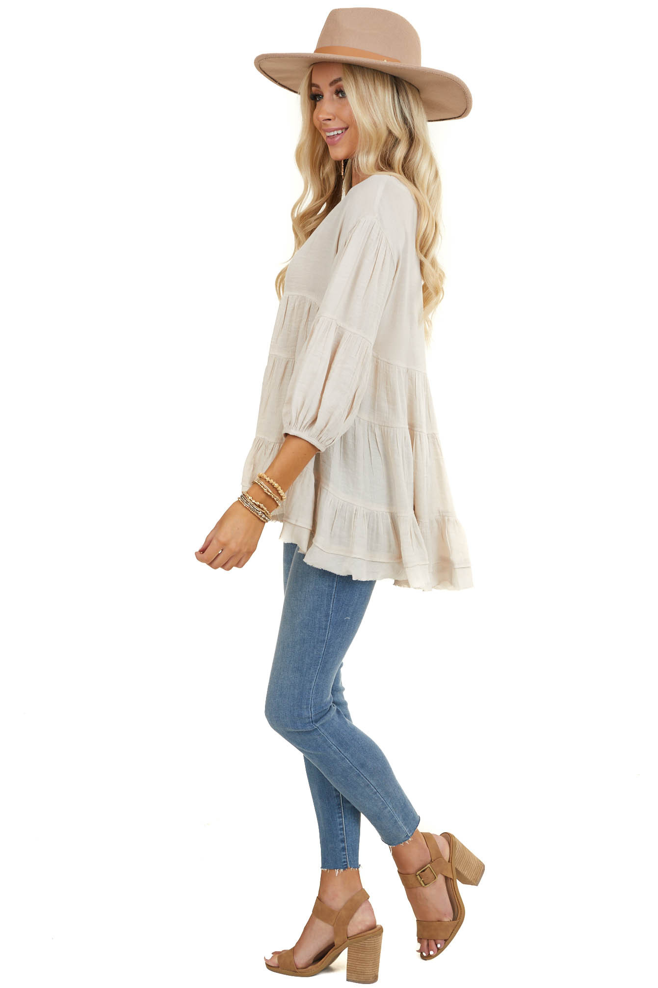 Cream Tiered Peasant Blouse with 3/4 Length Sleeves