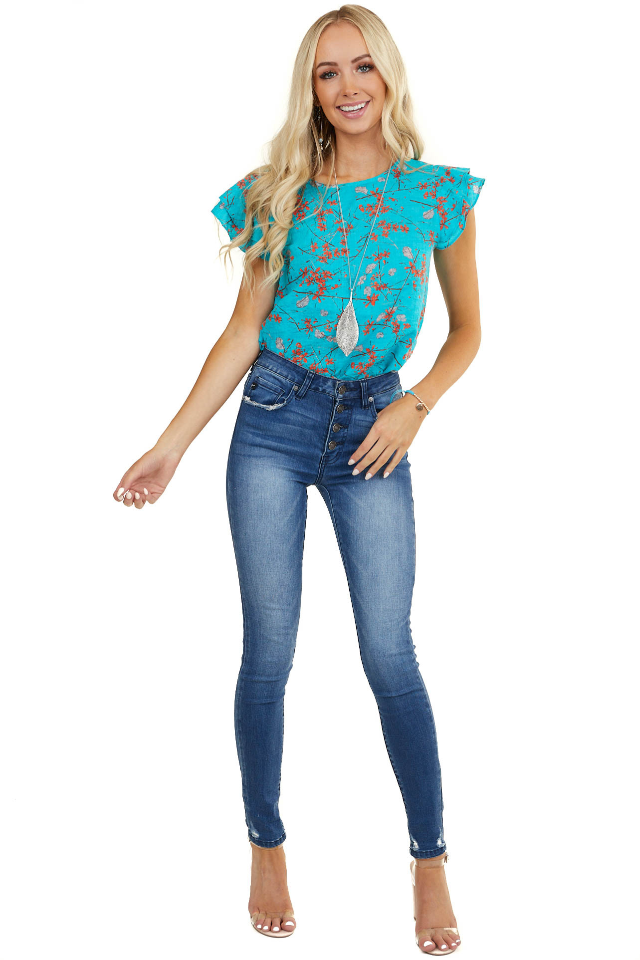 Teal and Tomato Red Floral Top with Ruffled Cap Sleeves