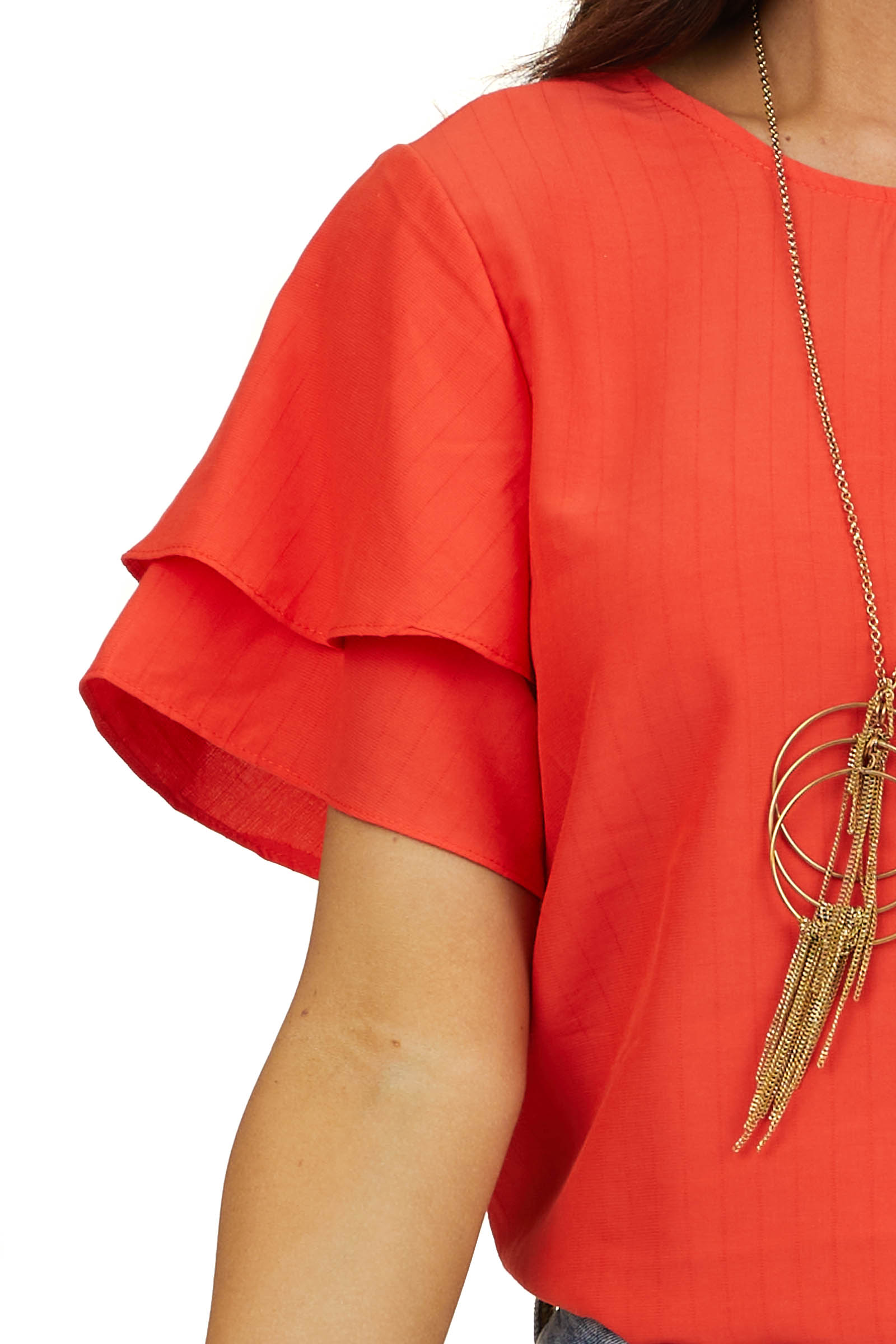 Tomato Red Short Sleeve Blouse with Textured Stripes