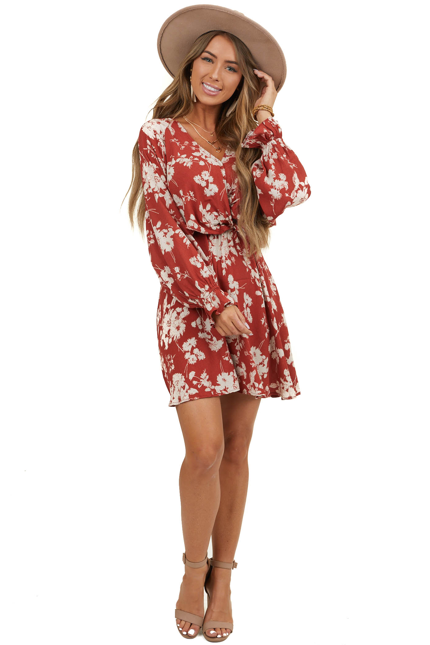 Brick Floral Print Woven Surplice Dress with Long Sleeves