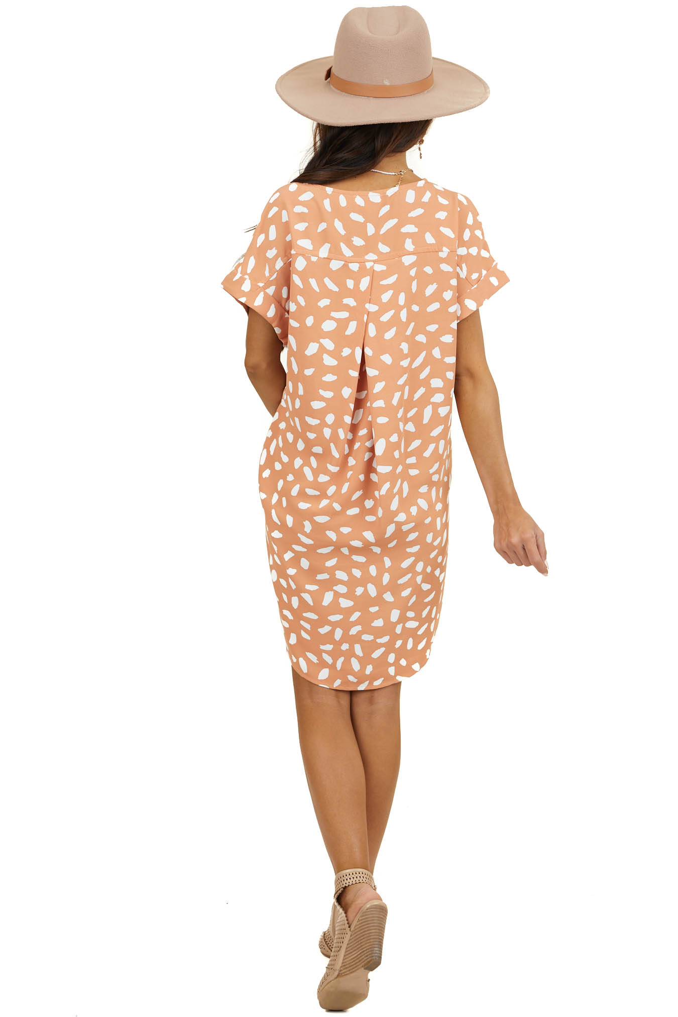 Peach Abstract Print Short Woven Dress with Short Sleeves