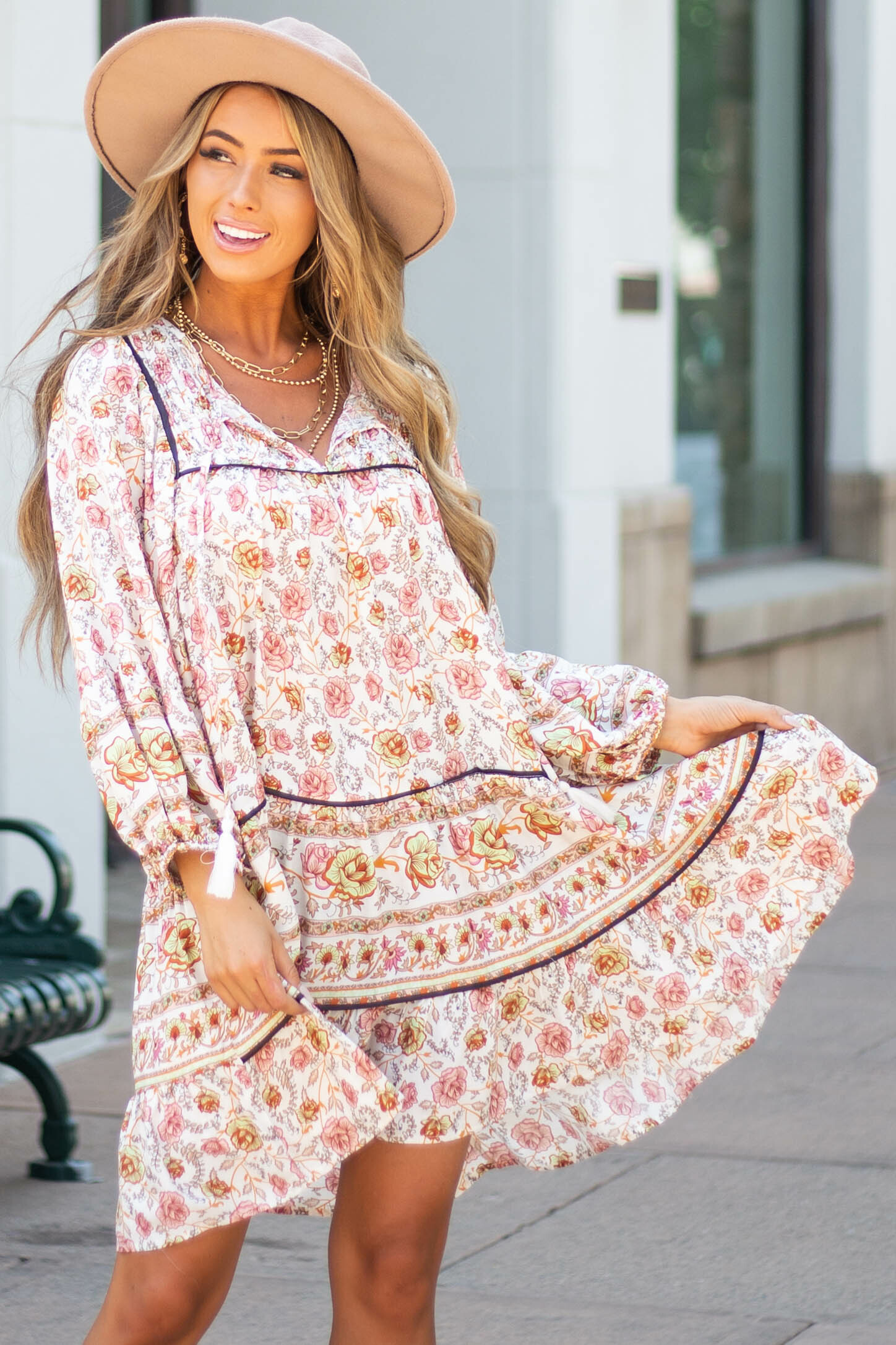 Ivory Floral Print Peasant Dress with 3/4 Length Sleeves
