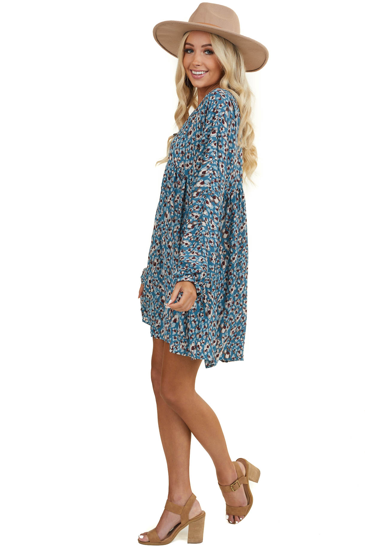 Teal Abstract V Neck Baby Doll Dress with Dolman Sleeves