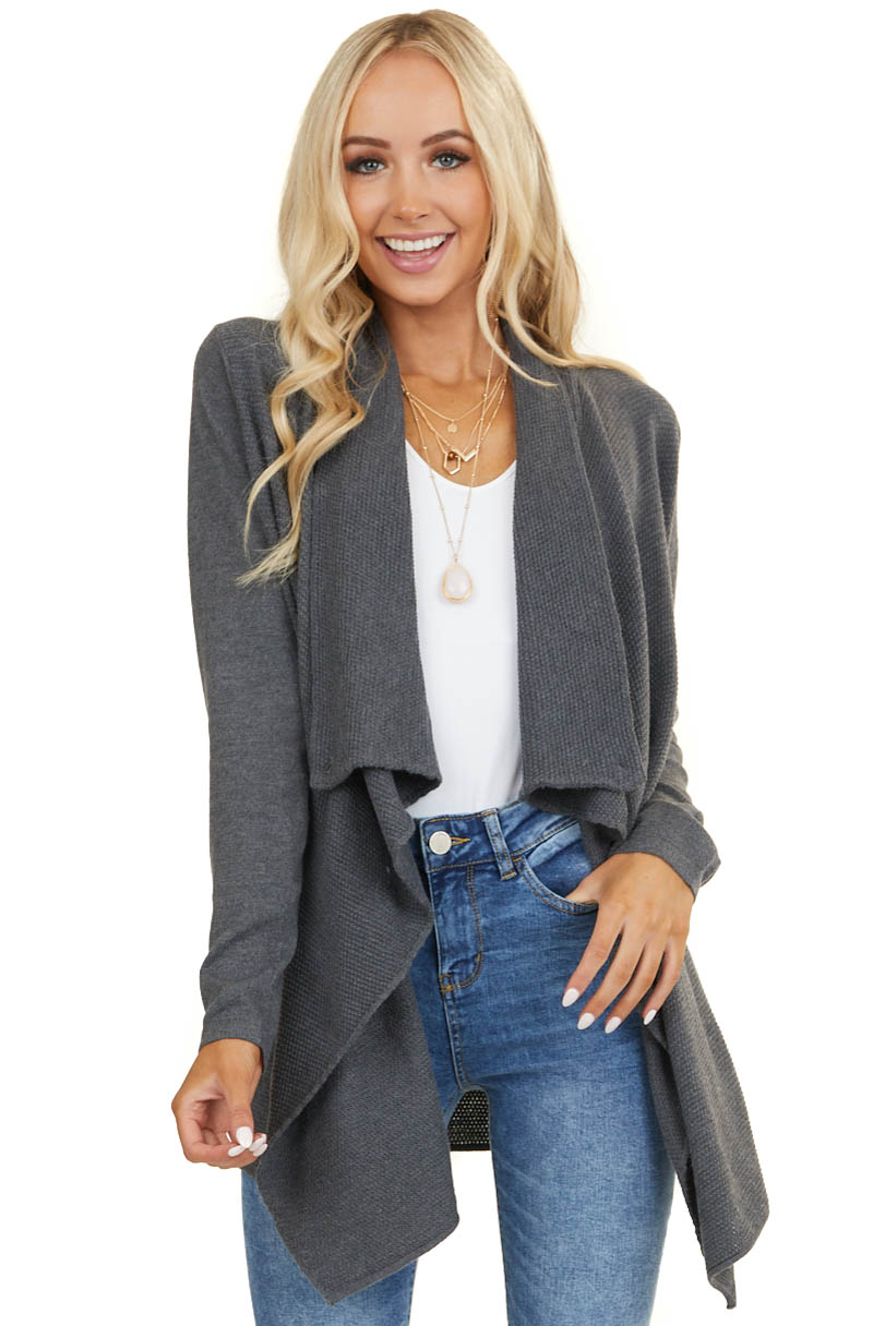 Stone Long Sleeve Wrap Cardigan Sweater with Button Closure