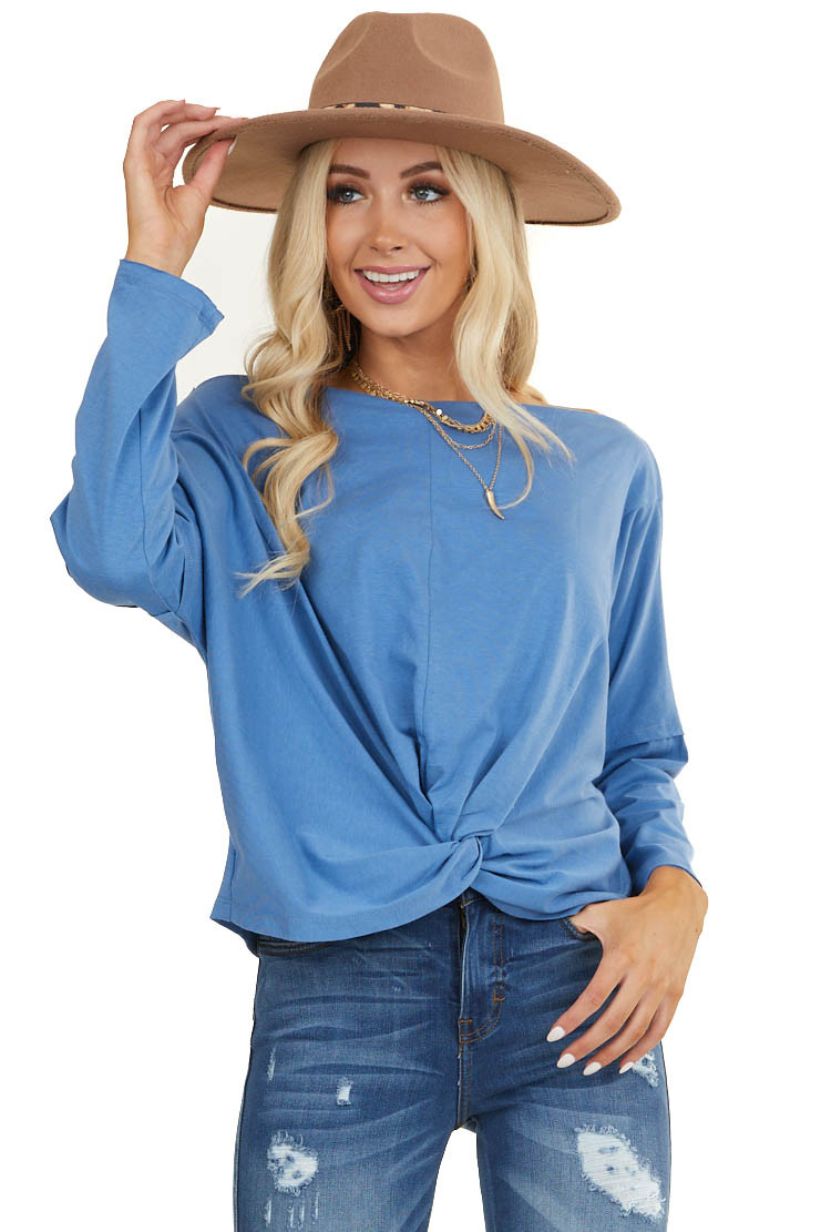 Dusty Blue Off Shoulder Knit Top with Front Twist Detail