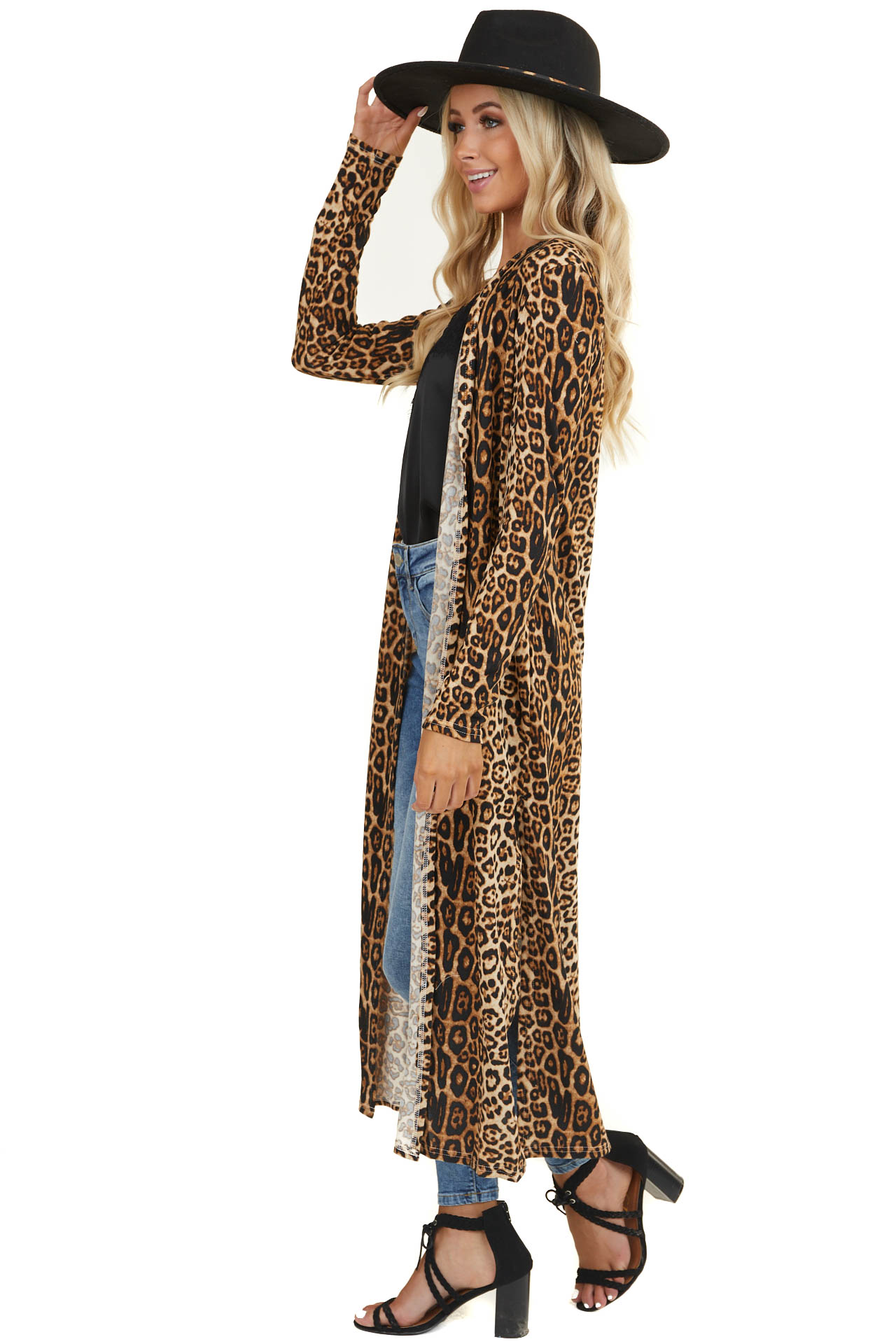 Beige Leopard Print Long Cardigan with Side Slits