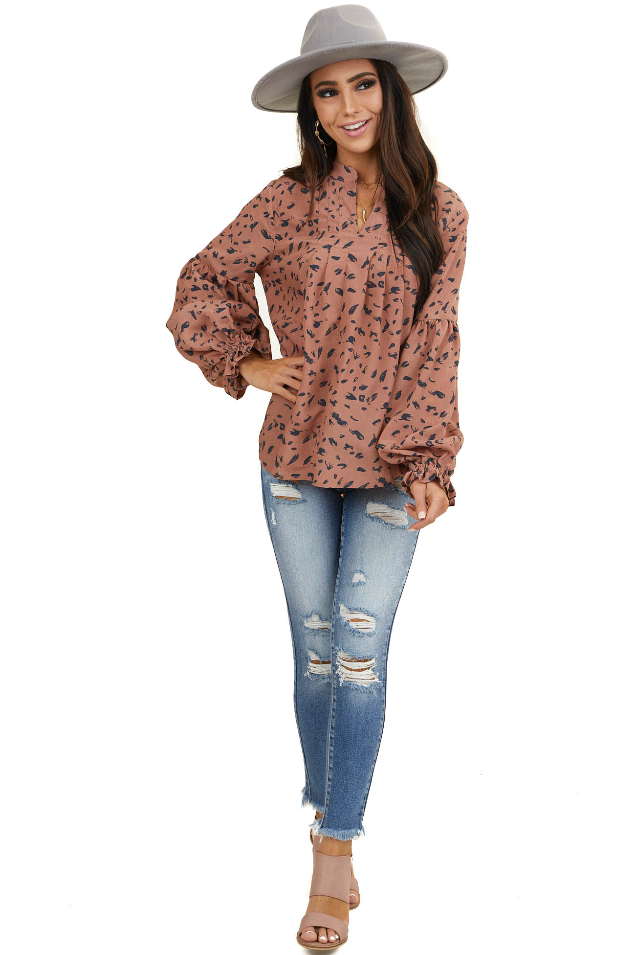 Dusty Rose Abstract Print Blouse with Long Ruffle Sleeves