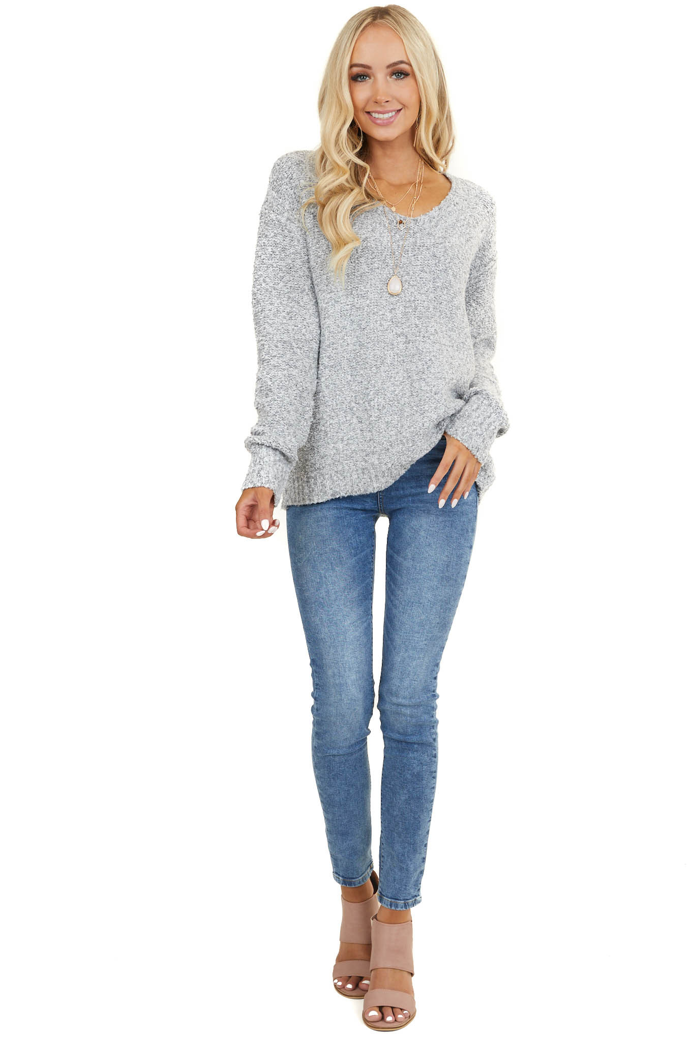 Heathered Dove Grey V Neckline Sweater with Long Sleeves