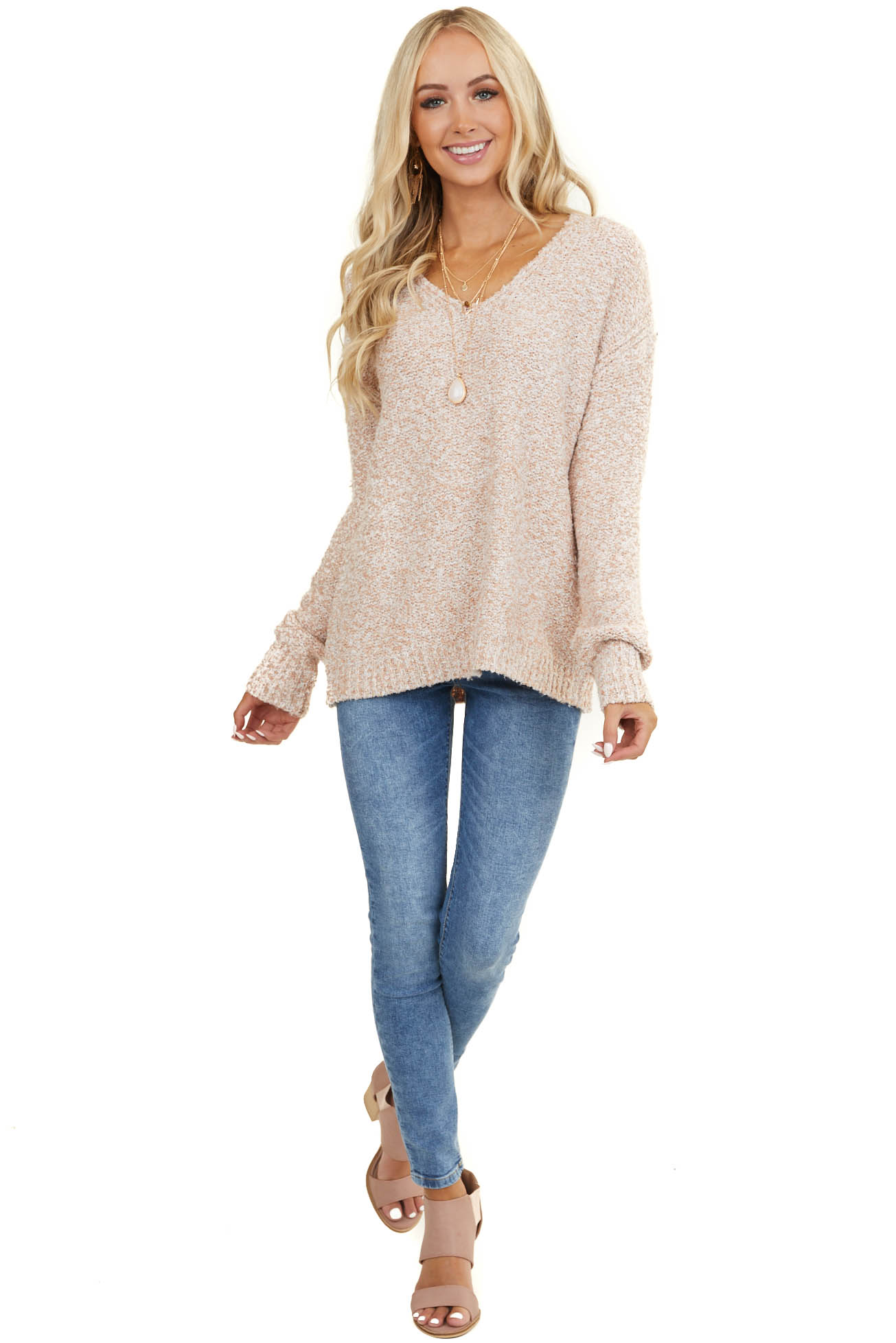 Heathered Peach V Neckline Sweater with Long Sleeves