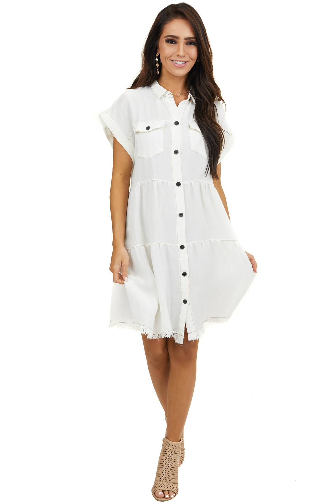 Ivory Button Up Collared Dress with Cuffed Sleeves