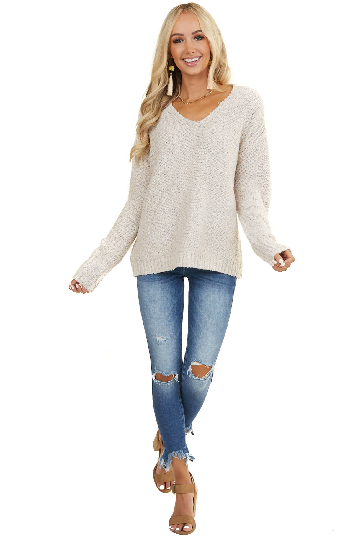 Heathered Oatmeal V Neckline Sweater with Long Sleeves